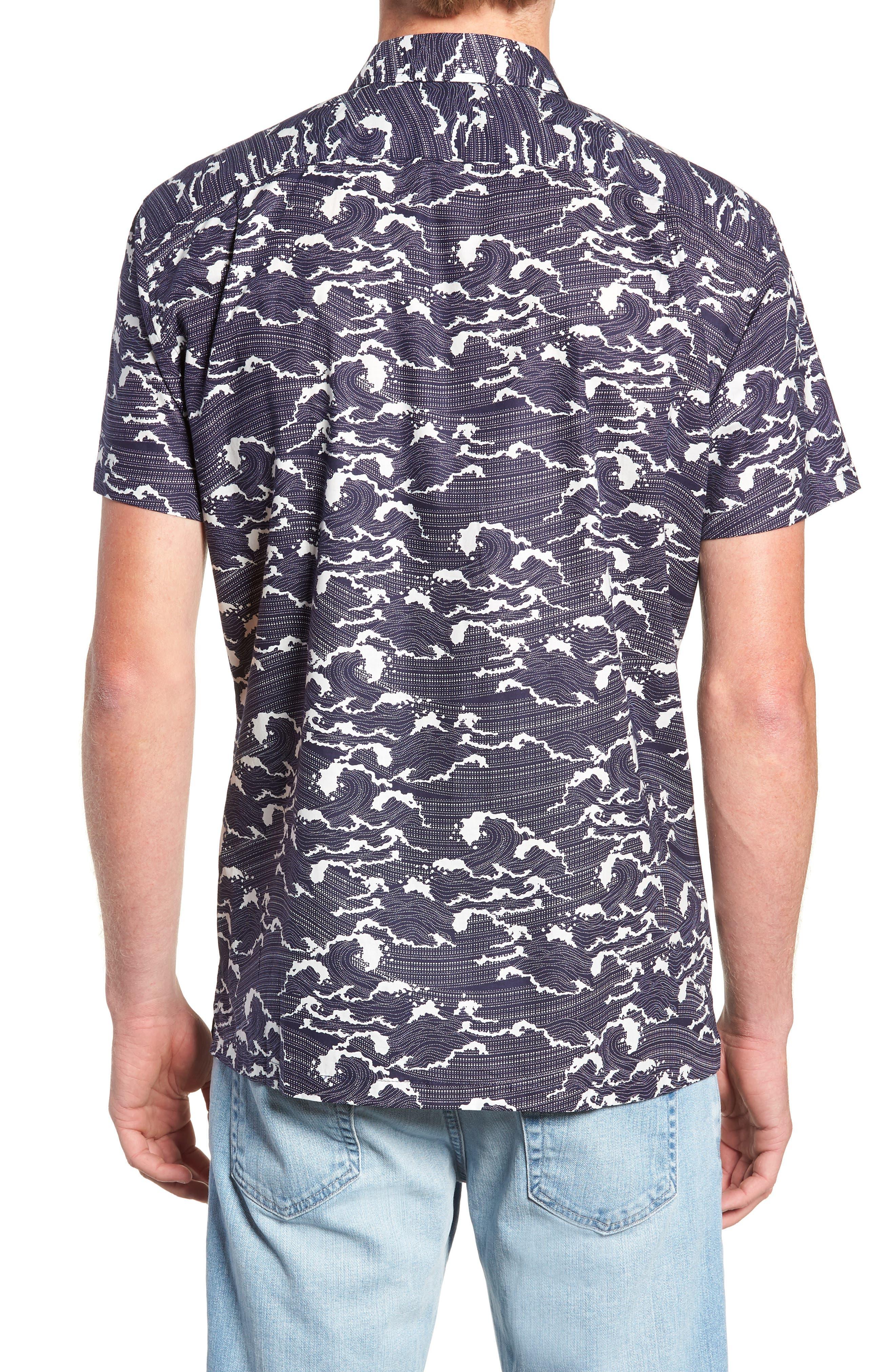Ebb & Flow Trim Fit Camp Shirt,                             Alternate thumbnail 2, color,                             NAVY