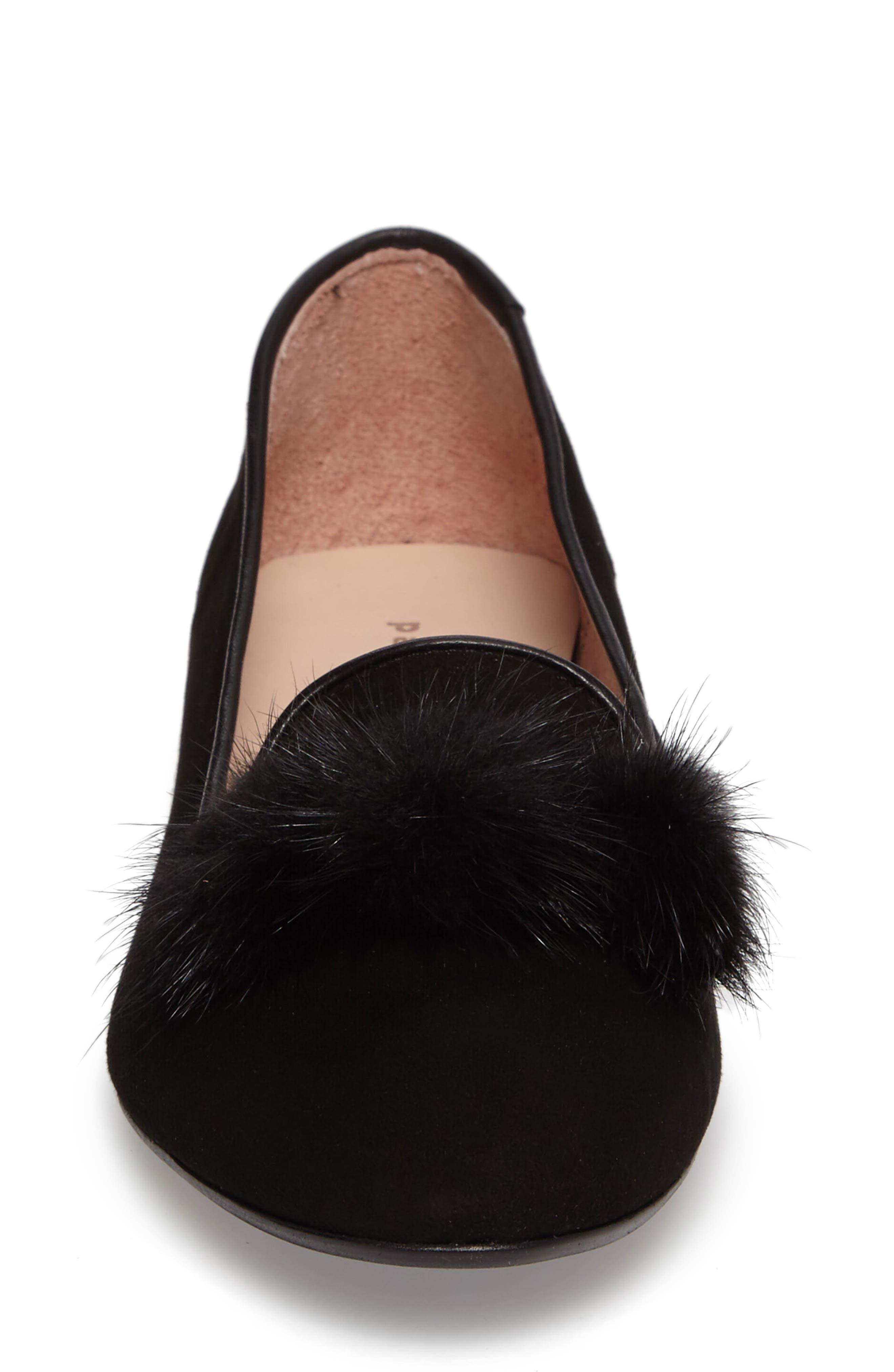 Wallis Genuine Fur Pompom Loafer,                             Alternate thumbnail 4, color,                             001