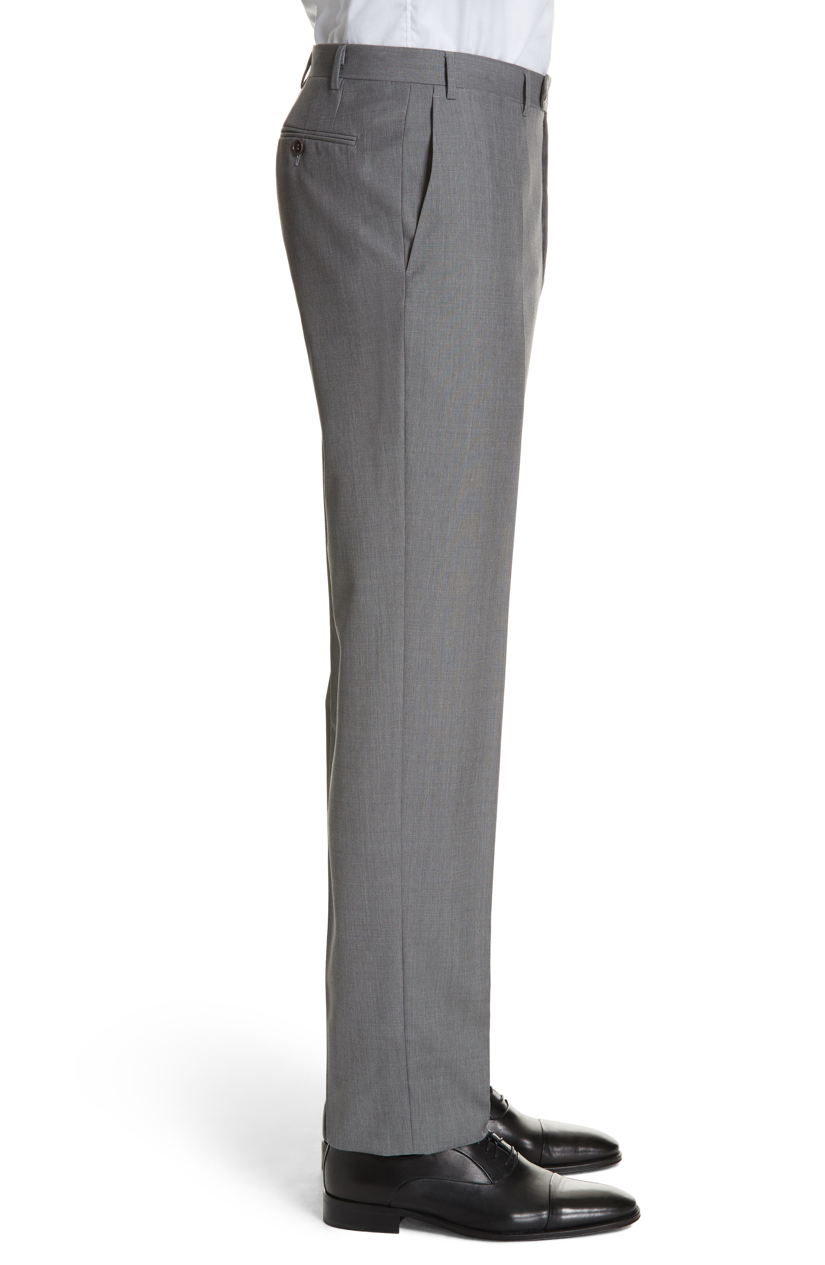Micro Dot Regular Fit Flat Front Wool Trousers,                             Alternate thumbnail 3, color,                             020