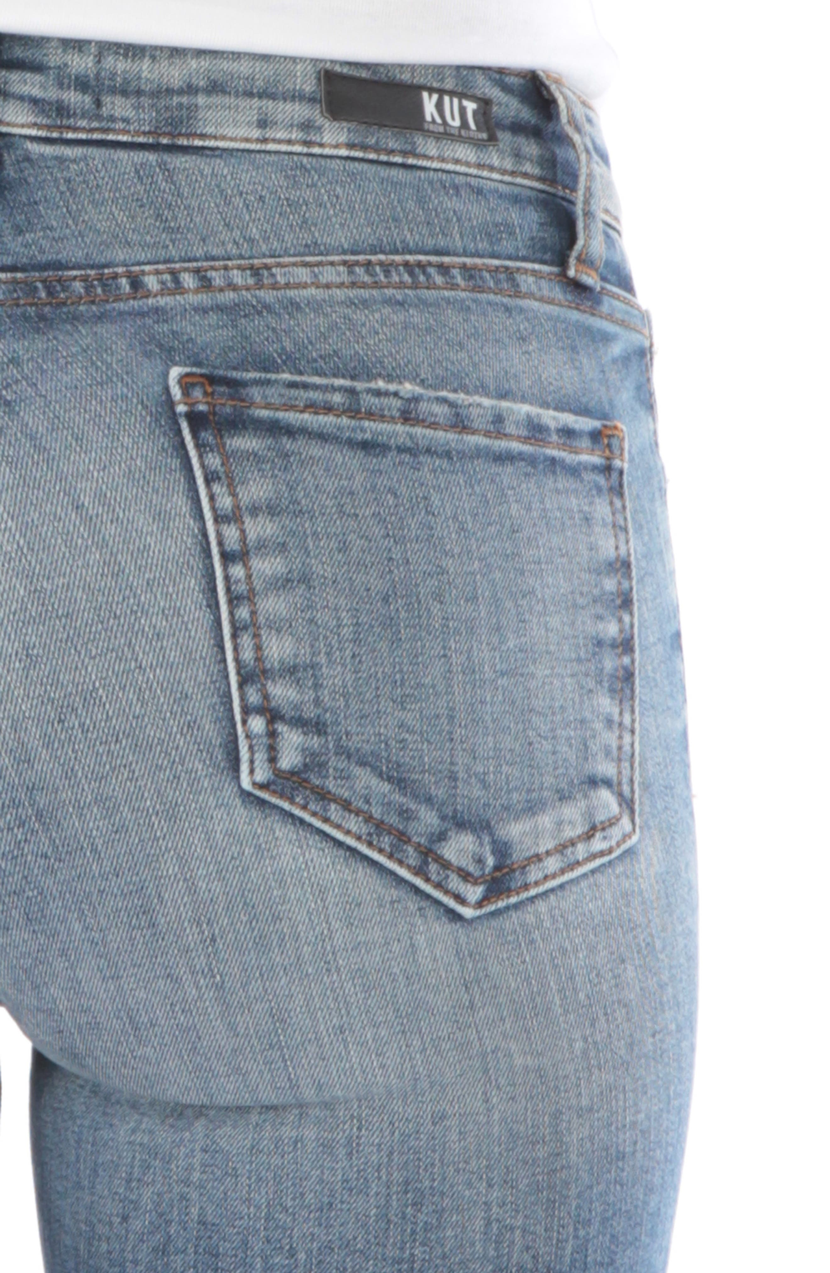 Reese Ripped Ankle Straight Leg Jeans,                             Alternate thumbnail 4, color,                             402