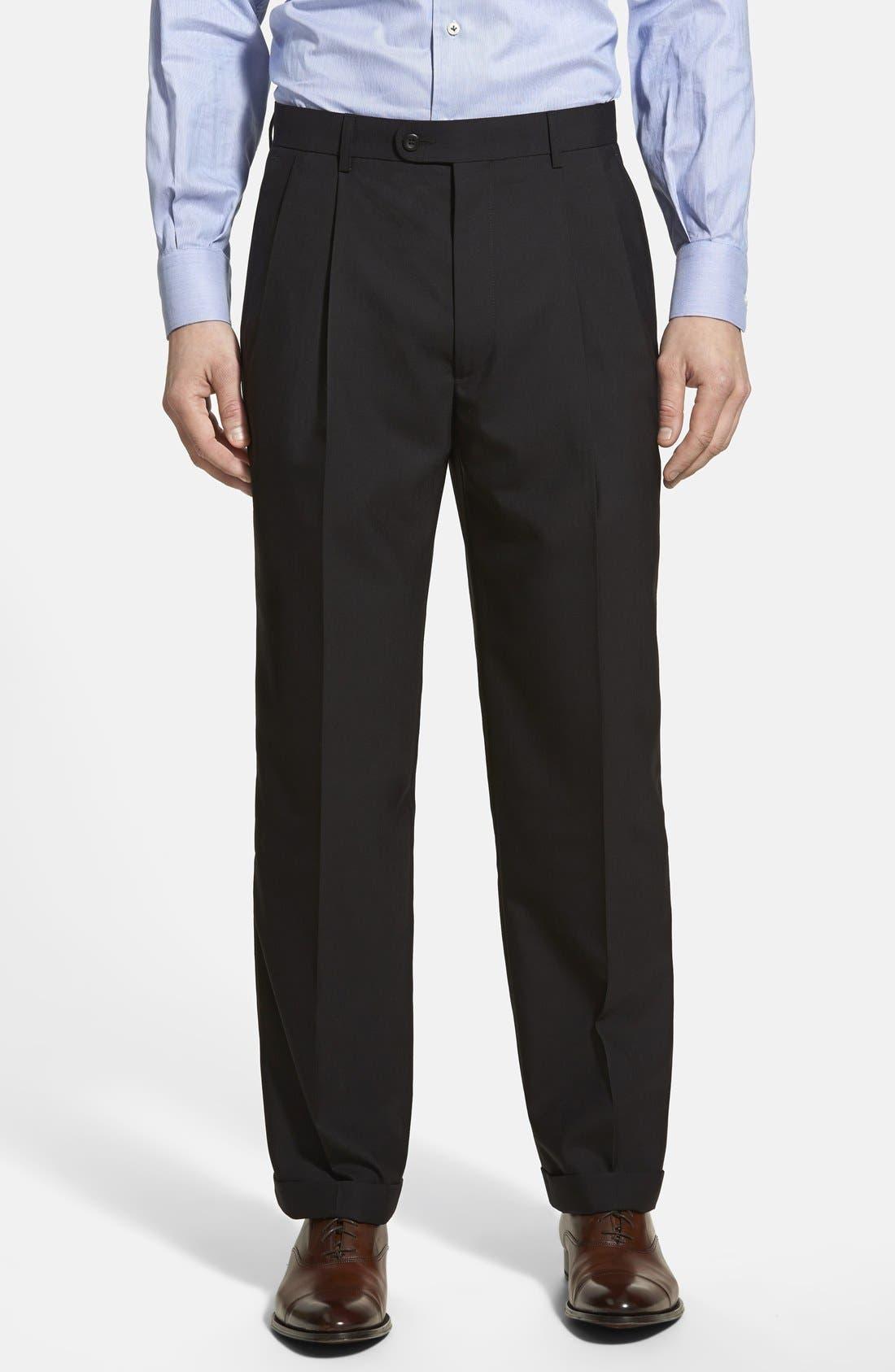 Pleated Wool Dress Pants,                         Main,                         color, 001