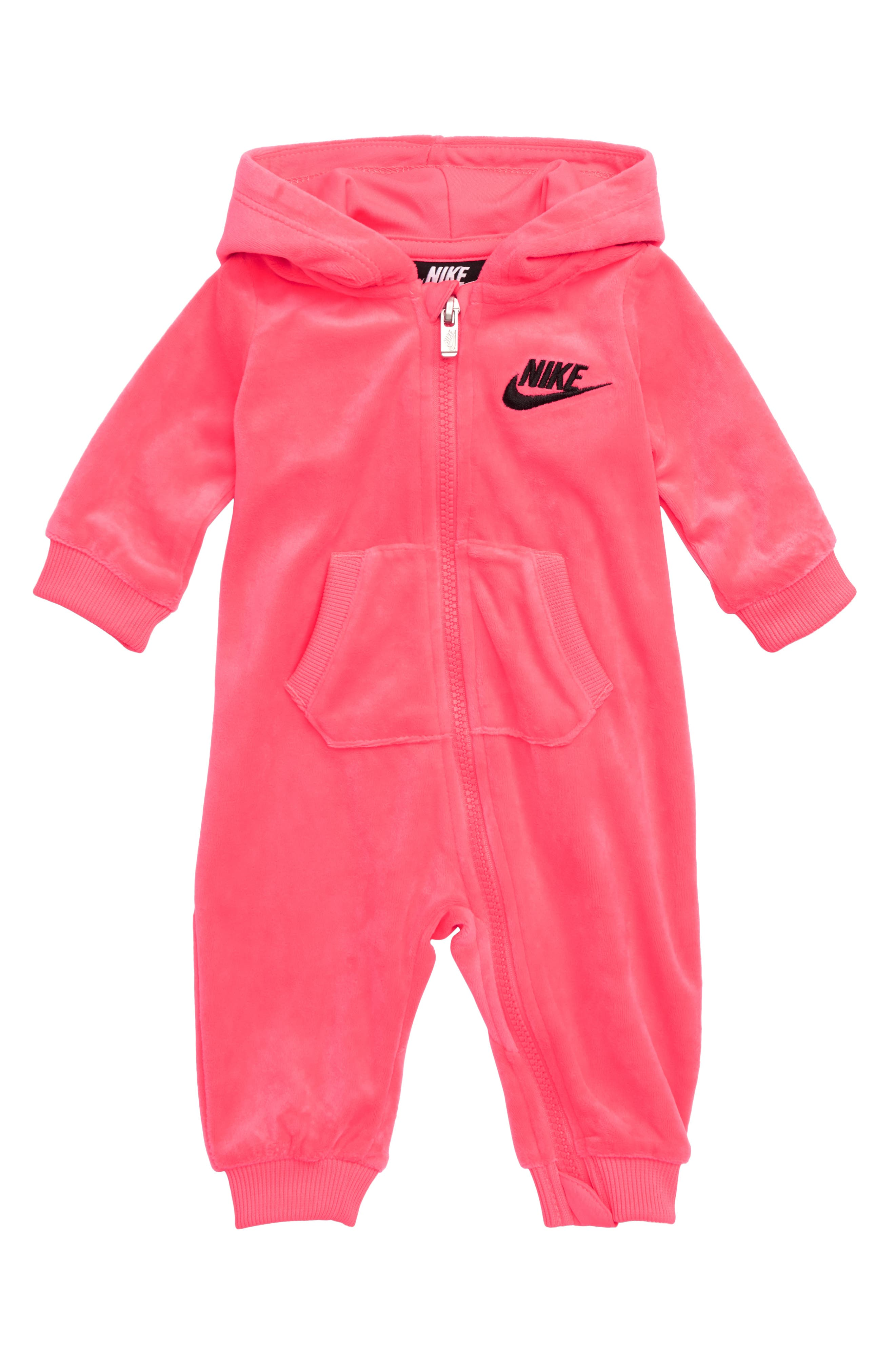 Hooded Velour Coveralls,                             Main thumbnail 1, color,                             671