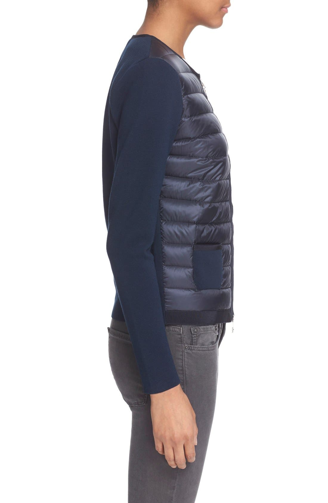 MONCLER,                             'Maglia' Quilted Down Front Tricot Cardigan,                             Alternate thumbnail 2, color,                             419