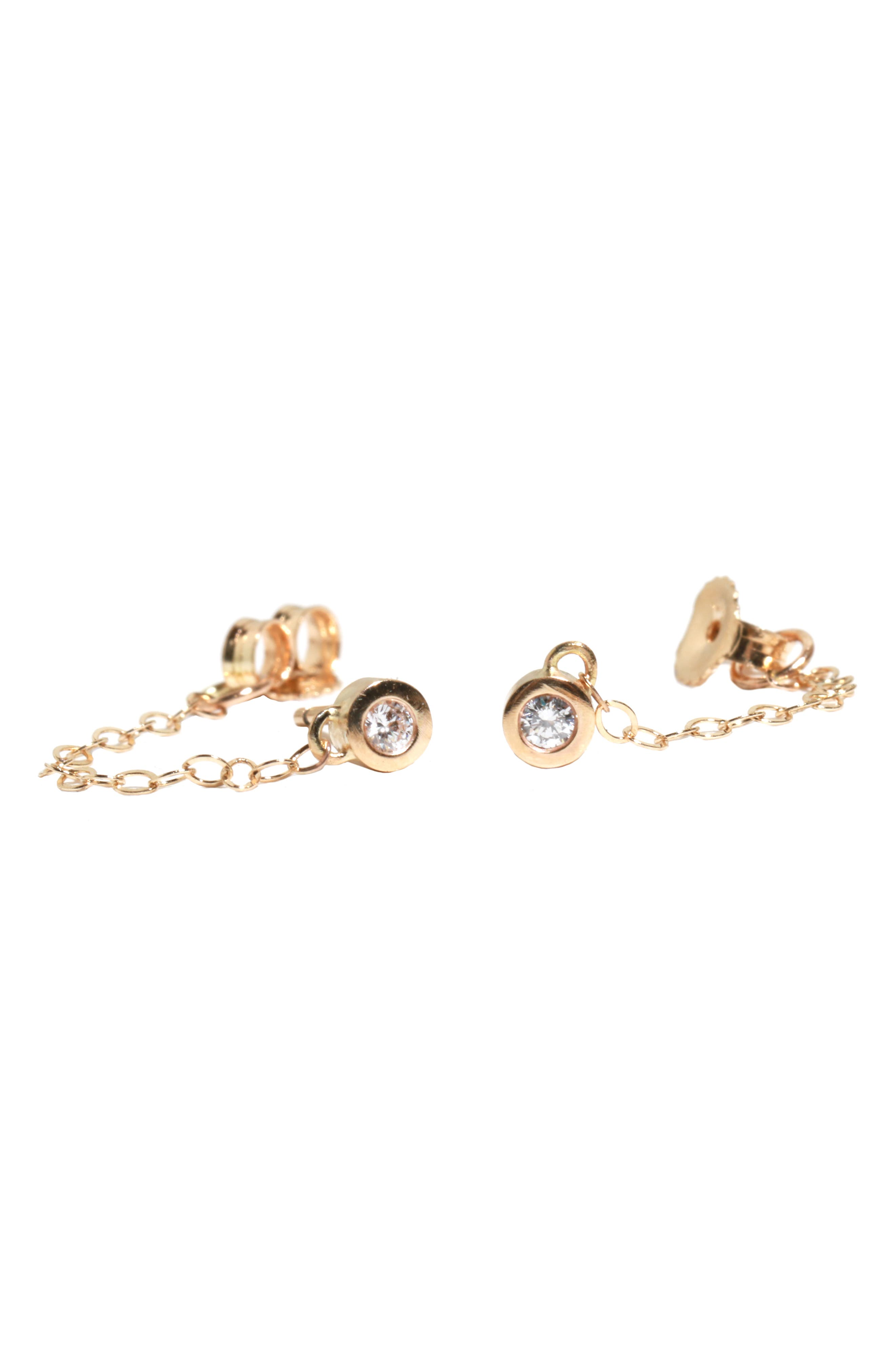 MELISSA JOY MANNING Chained Diamond Post Earrings in Diamond/ Yellow Gold