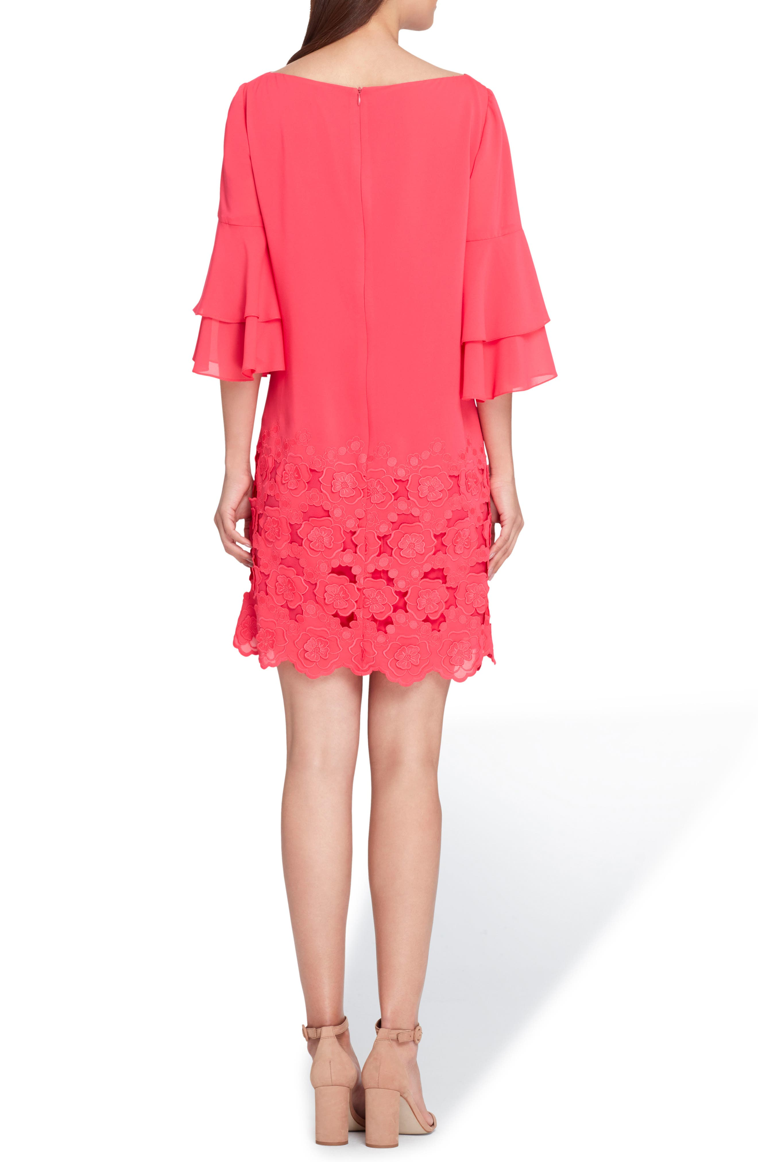 Embroidered Ruffle Sleeve Shift Dress,                             Alternate thumbnail 2, color,                             676