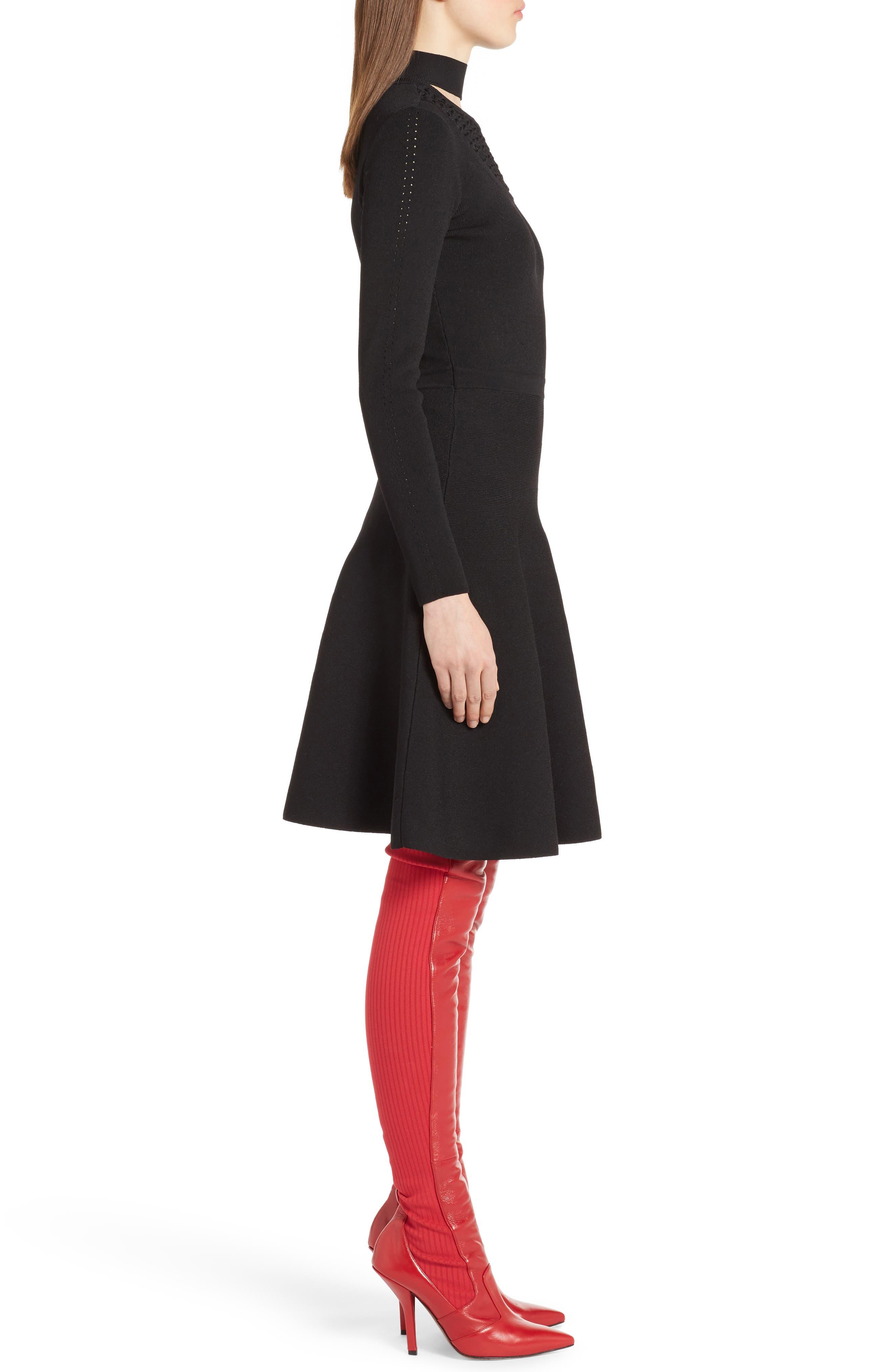 Macramé Inset Knit Dress,                             Alternate thumbnail 3, color,                             001