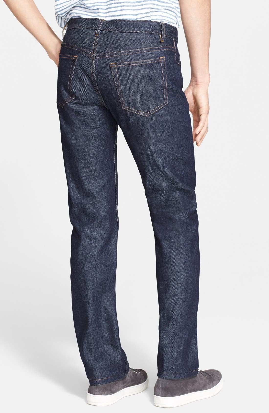 New Standard Slim Straight Leg Raw Selvedge Jeans,                             Alternate thumbnail 4, color,                             INDIGO WASH