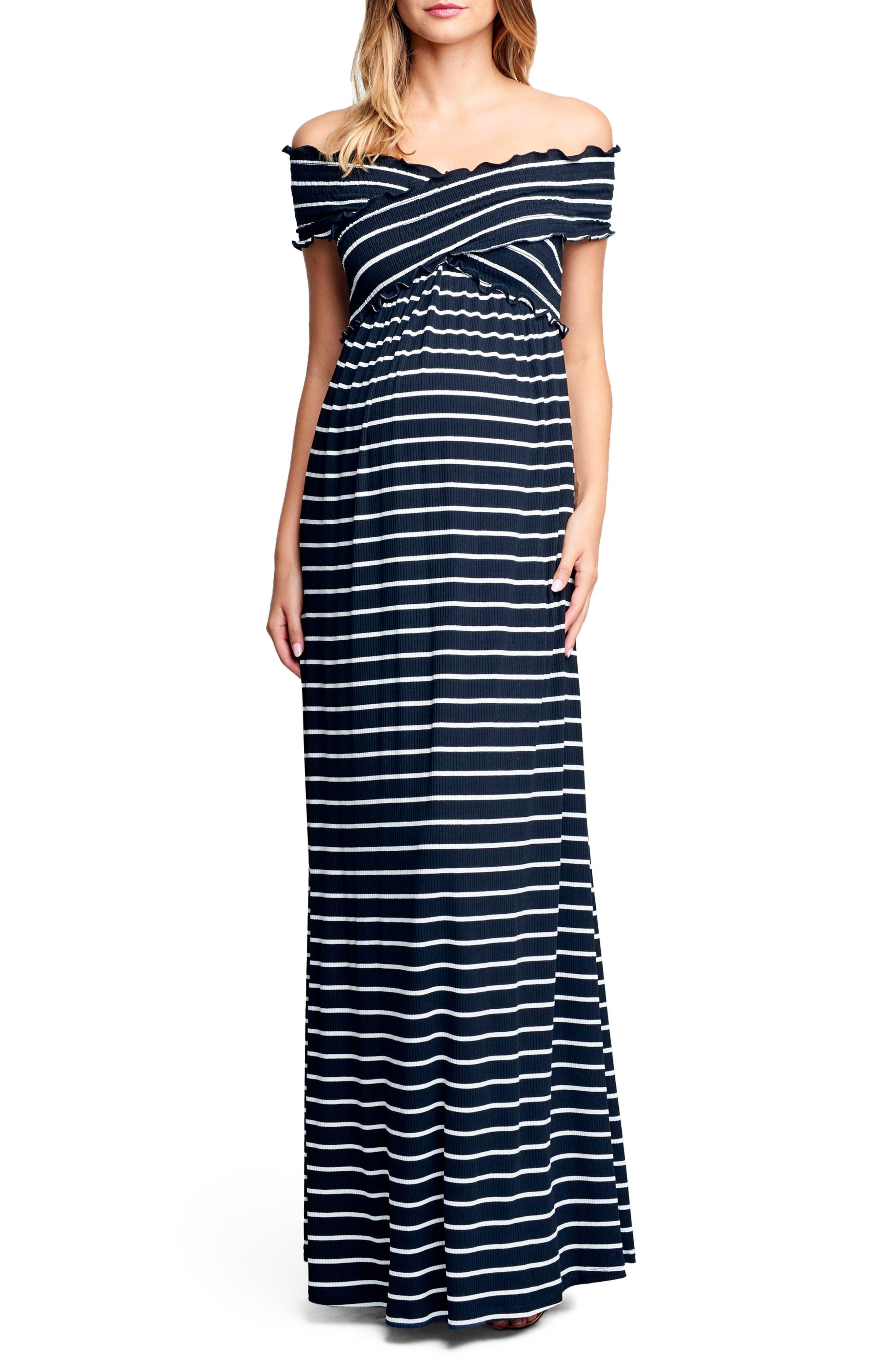 Maternal America Crisscross Off The Shoulder Maxi Maternity Dress, Black