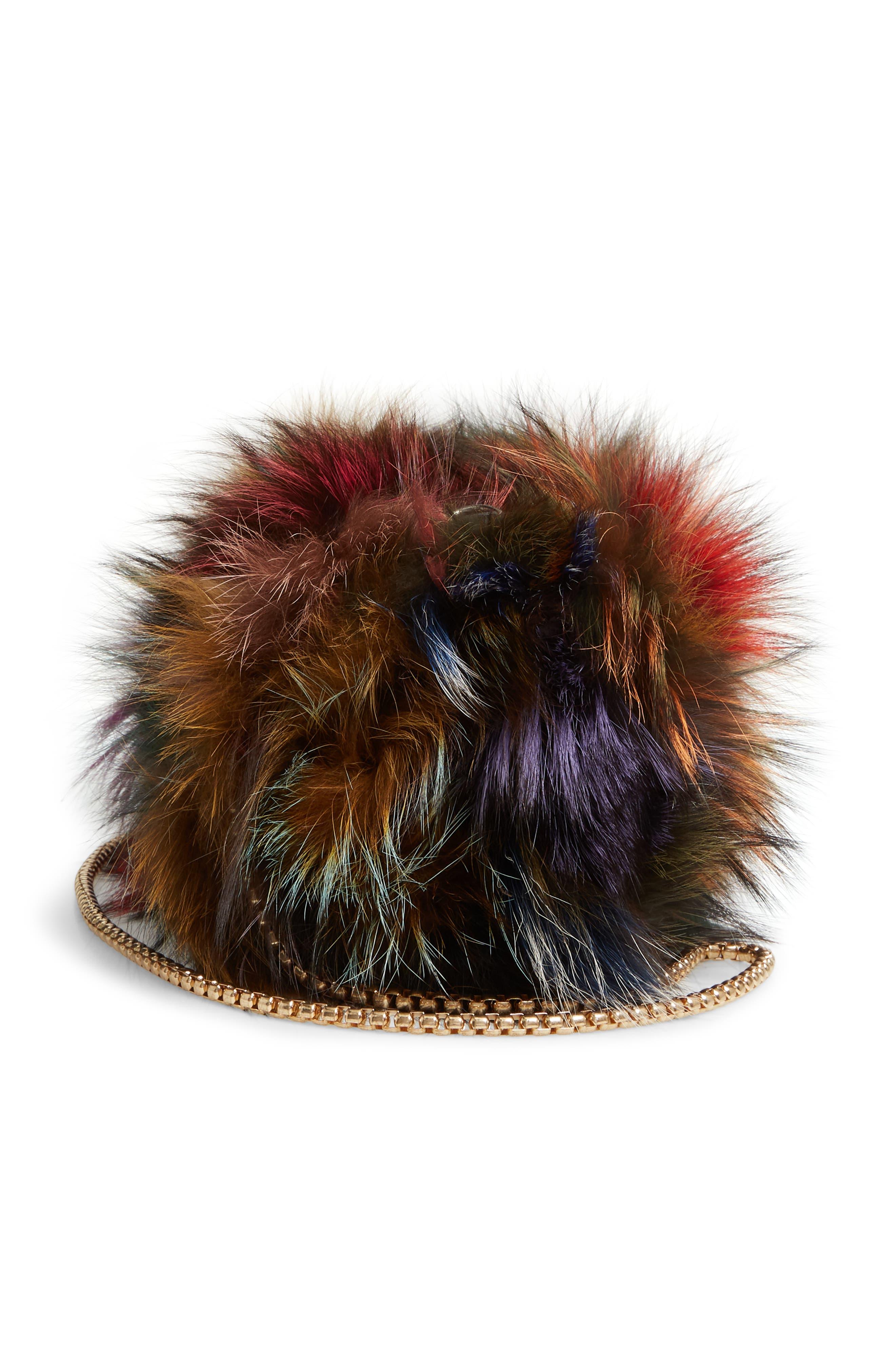 Elmo Genuine Silver Fox Fur Shoulder Bag,                             Alternate thumbnail 6, color,                             BLUE MULTI