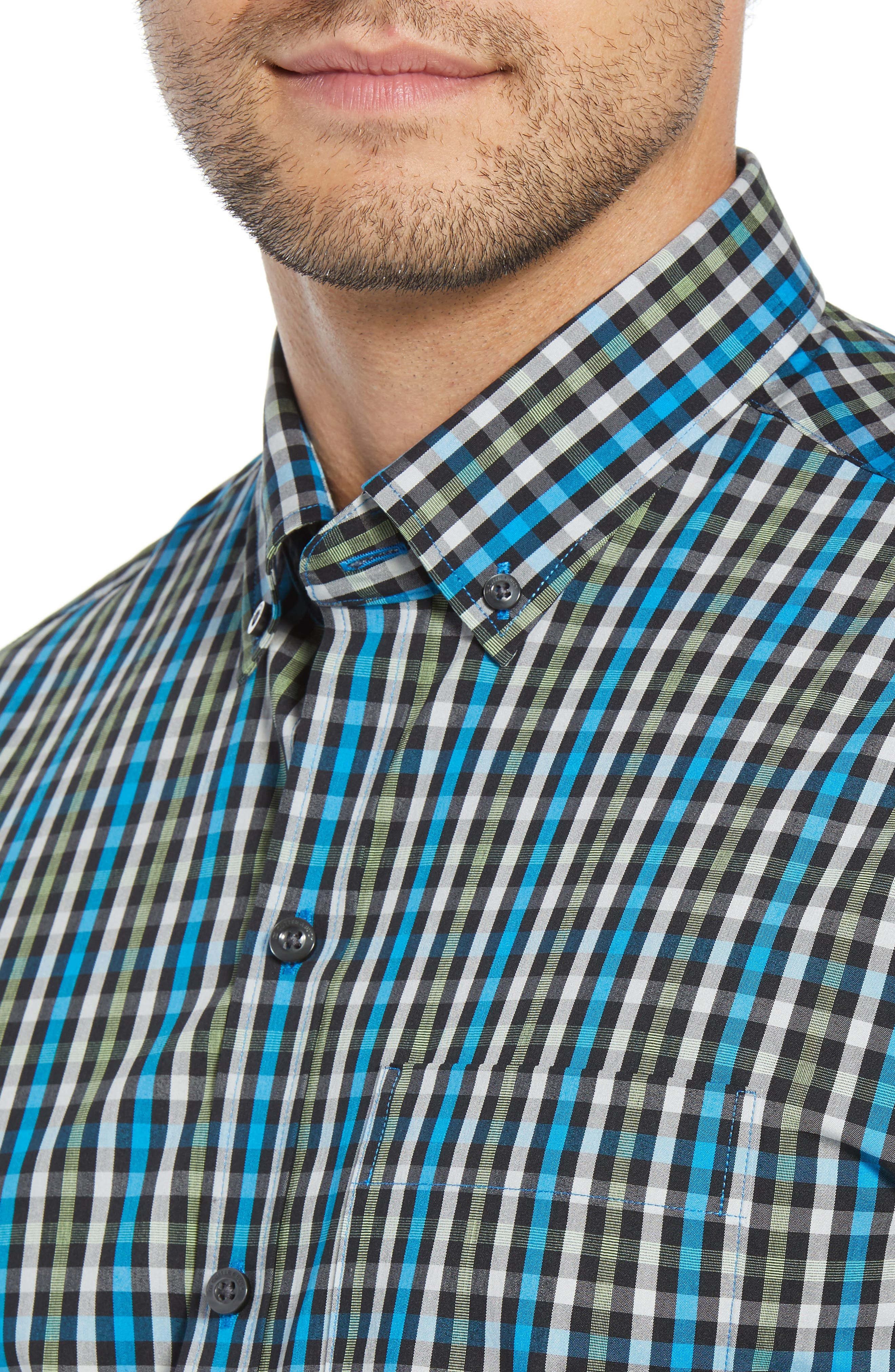 Albert Regular Fit Wrinkle Free Check Sport Shirt,                             Alternate thumbnail 2, color,                             ORBIT