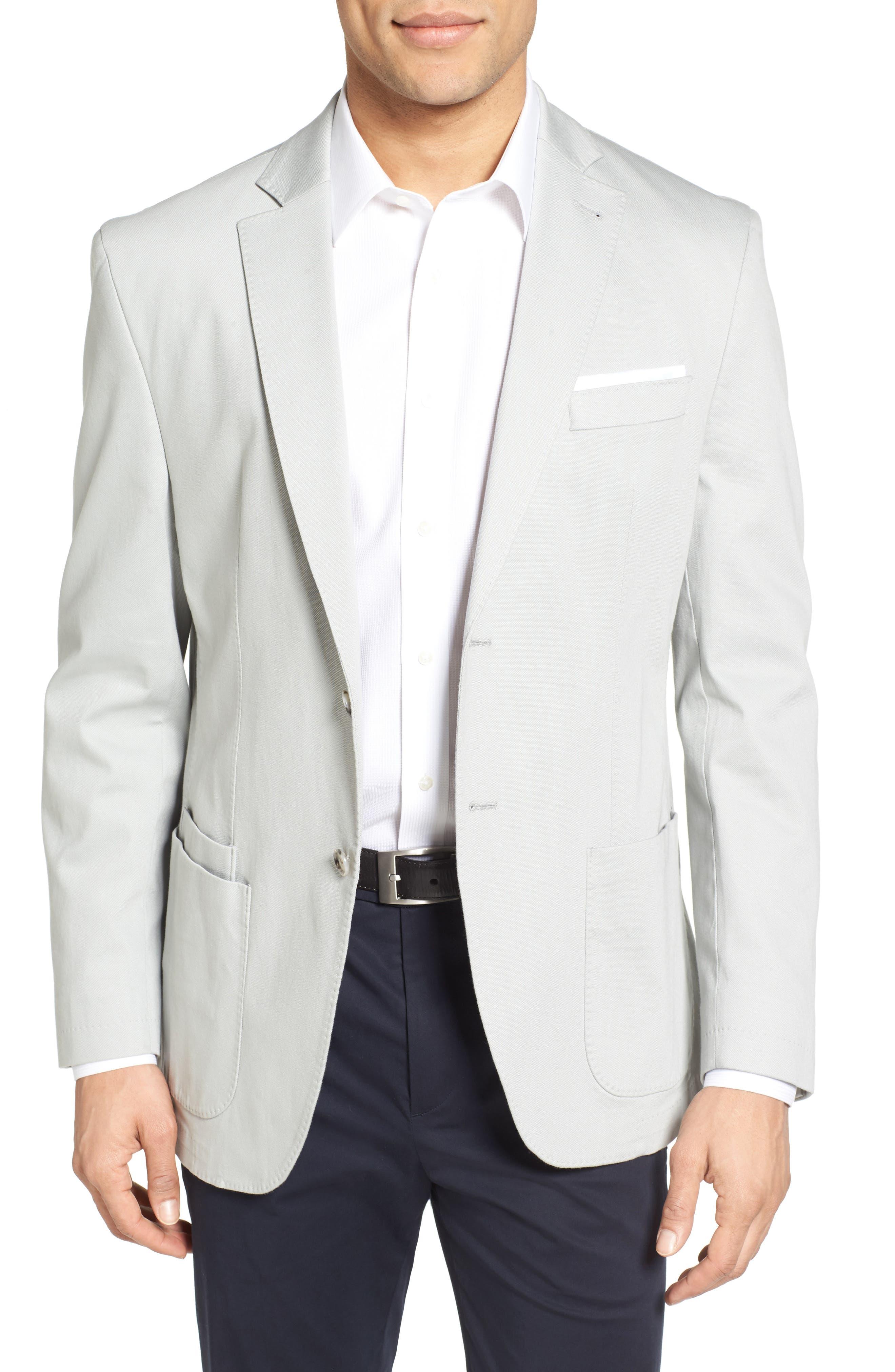 Trim Fit Stretch Cotton Blazer,                         Main,                         color, 051