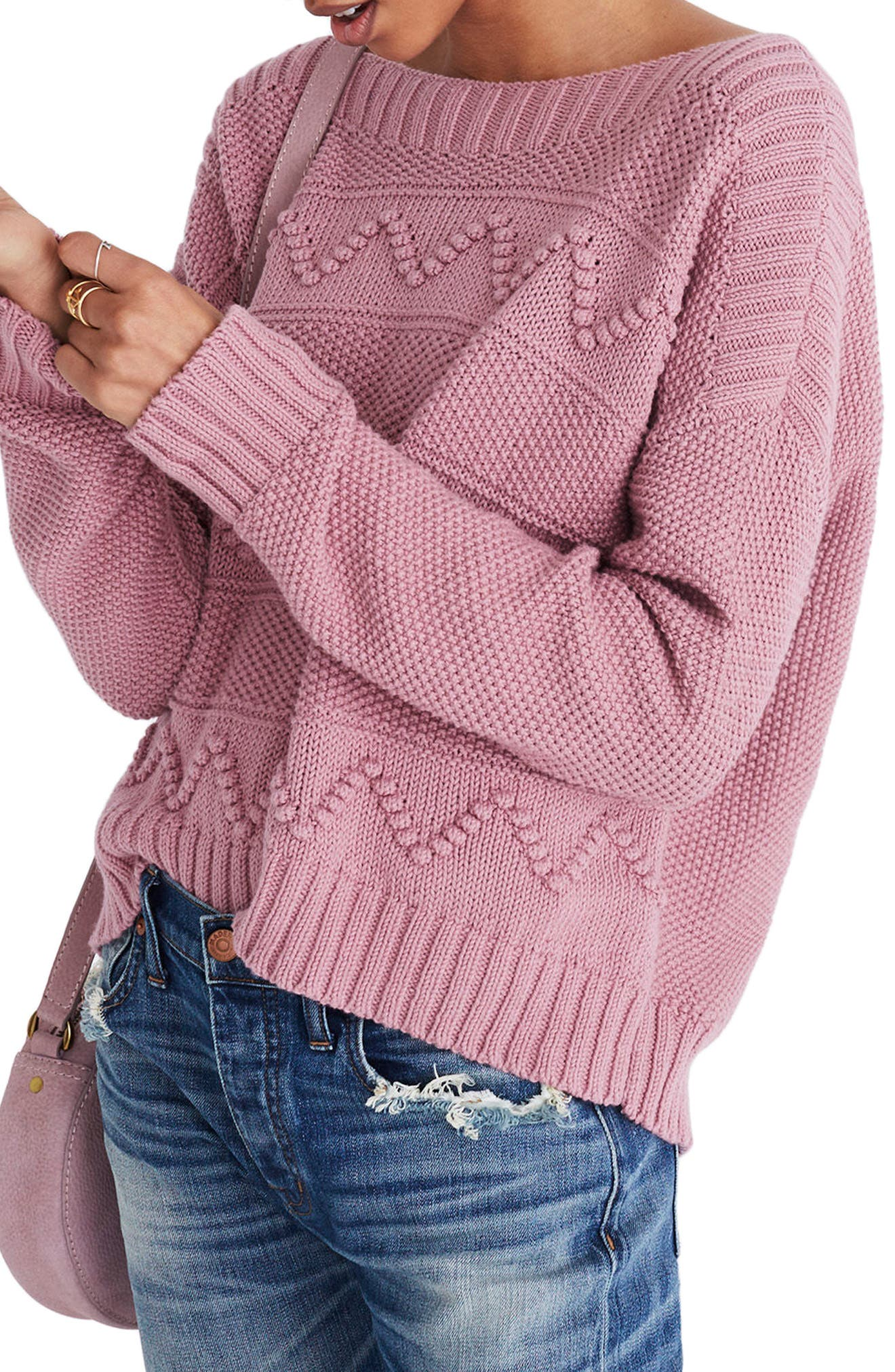 Zigzag Stitch Pullover Sweater, Main, color, 650
