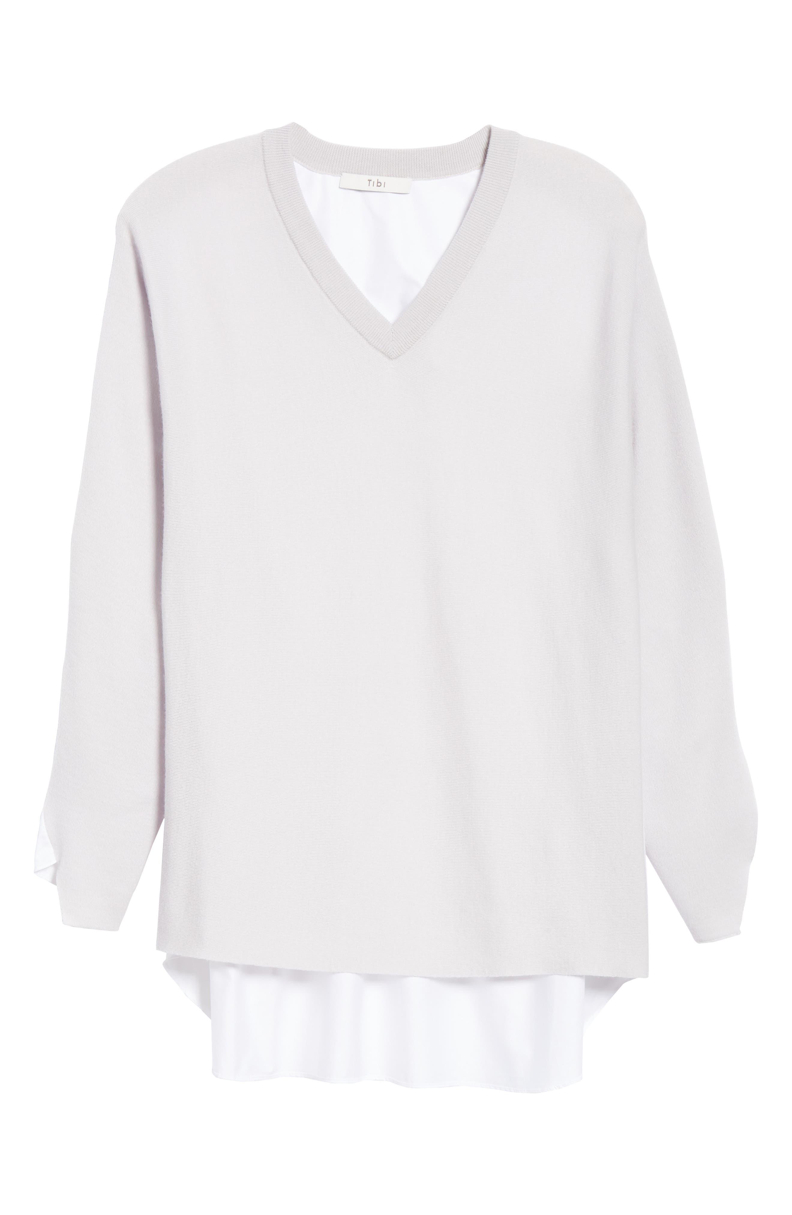 Mixed Media V-Neck Sweater,                             Alternate thumbnail 6, color,                             LIGHT WARM GREY MULTI