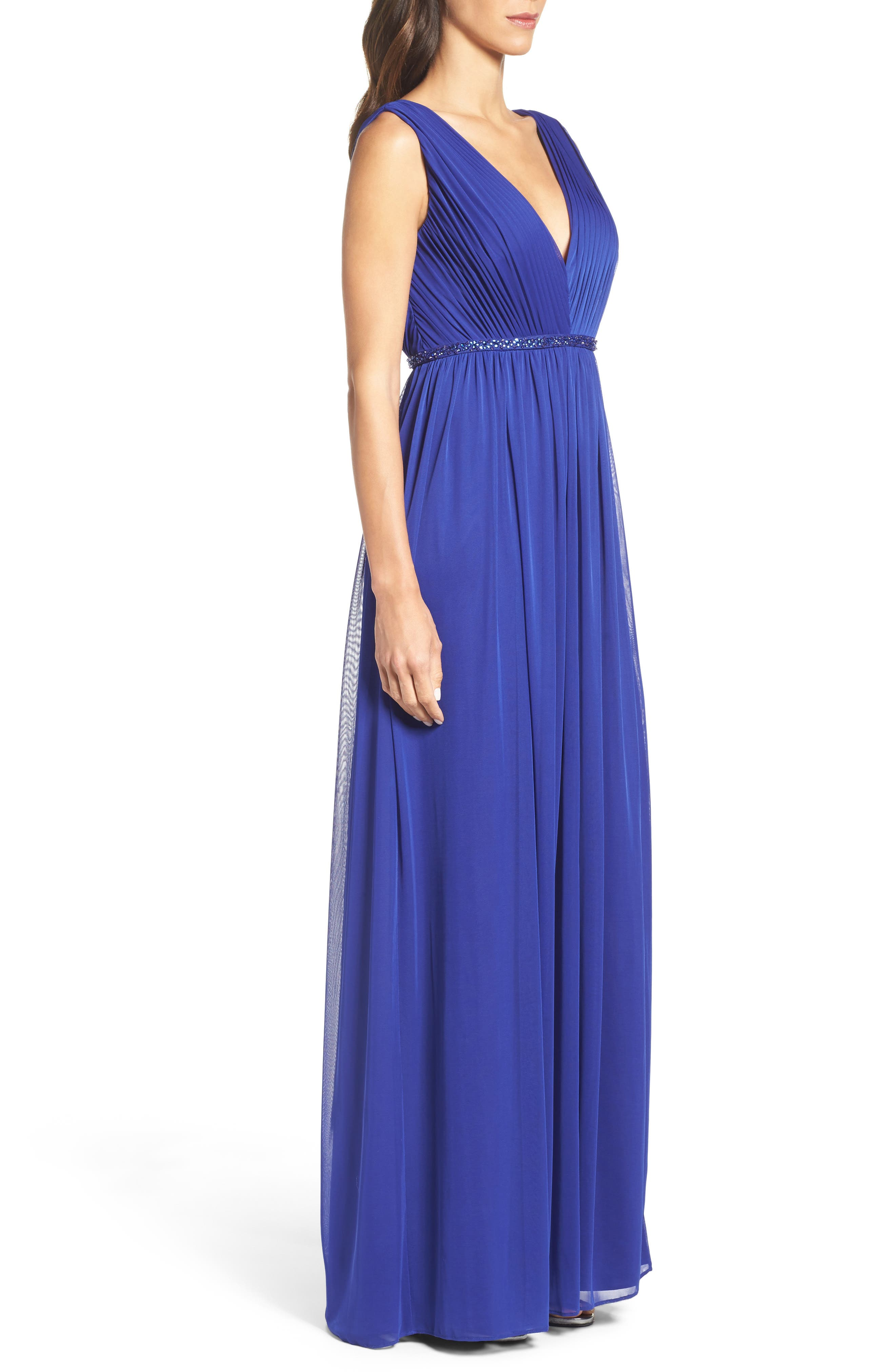 Embellished Shirred Tulle Gown,                             Alternate thumbnail 3, color,                             490