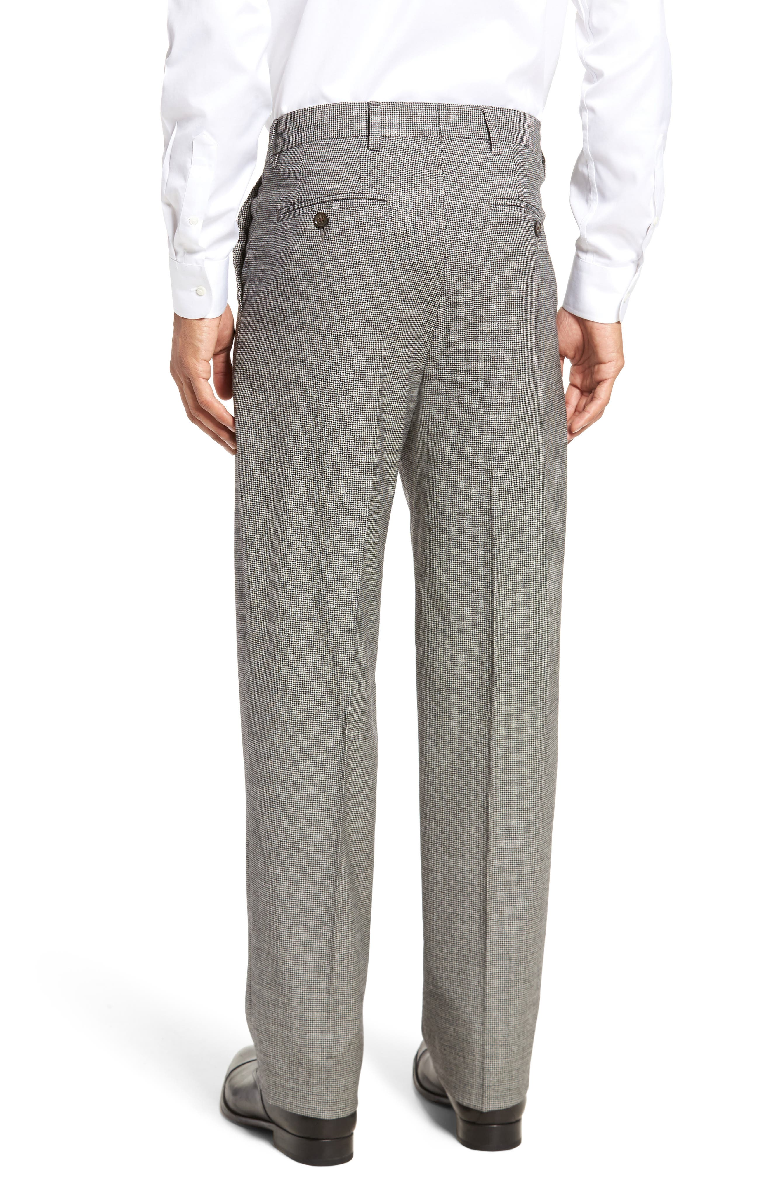 Flat Front Stretch Plaid Houndstooth Trousers,                             Alternate thumbnail 3, color,                             BLACK/ WHITE