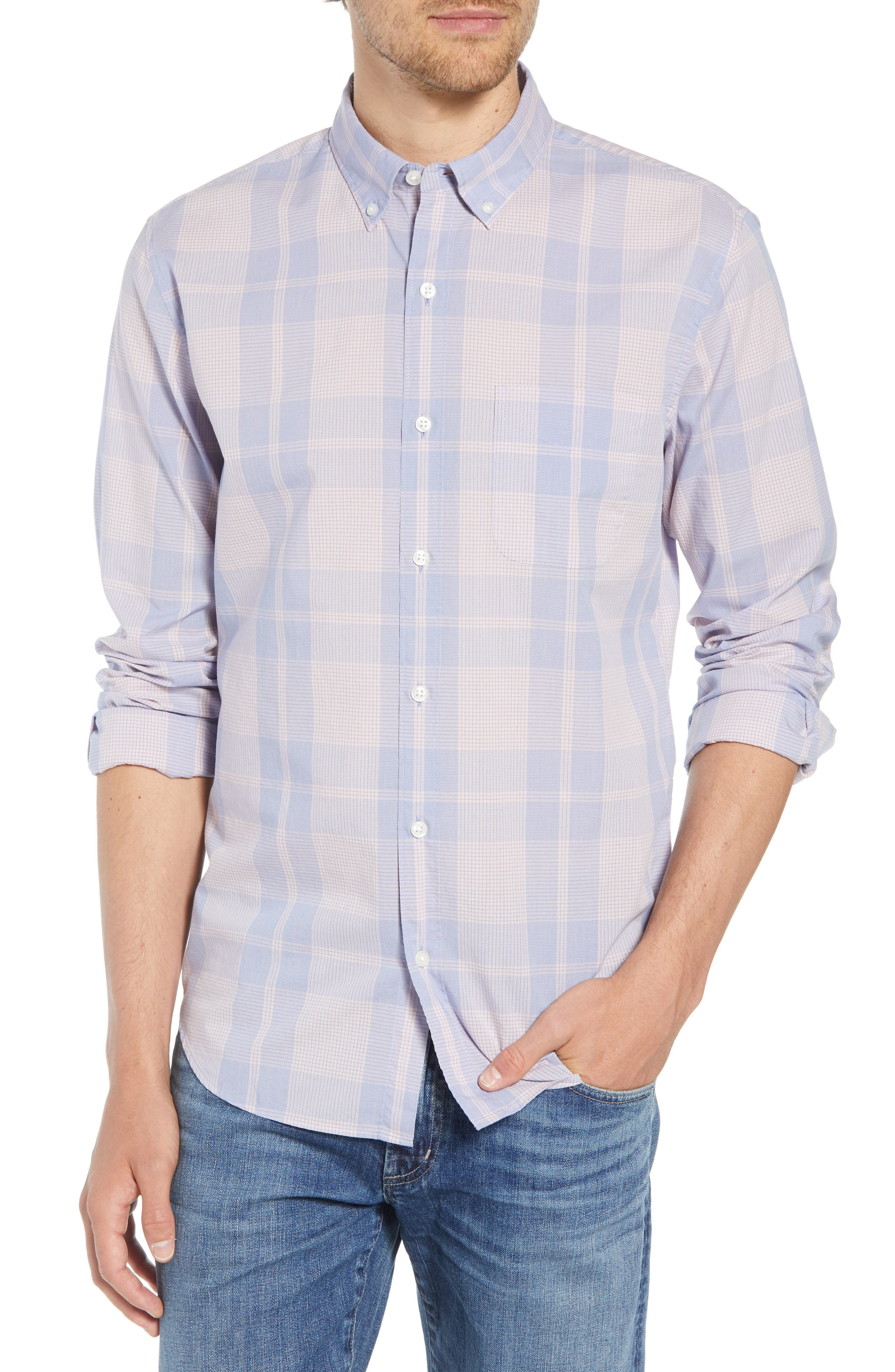 Summerweight Slim Fit Plaid Sport Shirt,                         Main,                         color, 650