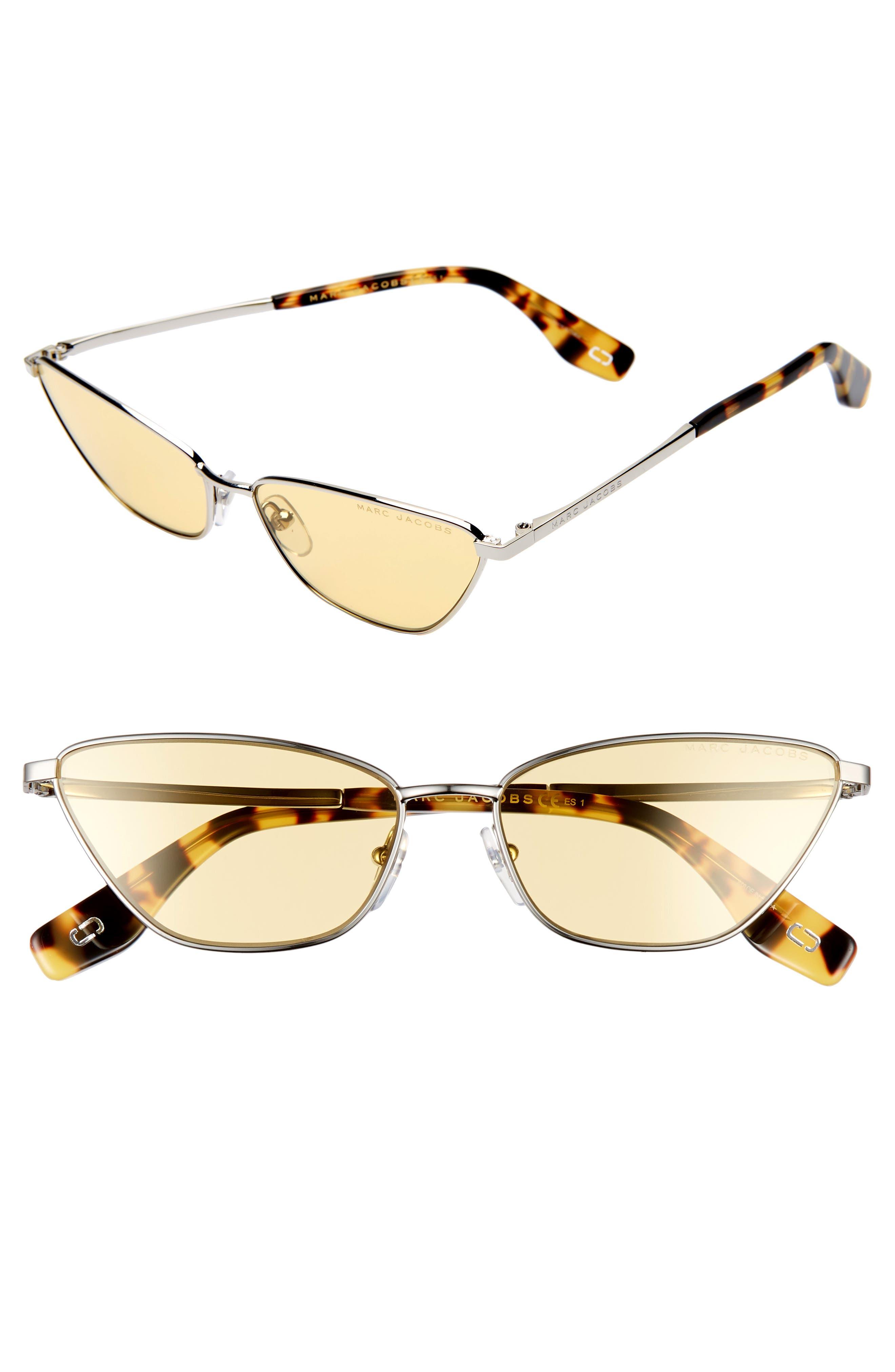 57mm Cat Eye Sunglasses,                             Main thumbnail 1, color,                             SILVER/ YELLOW