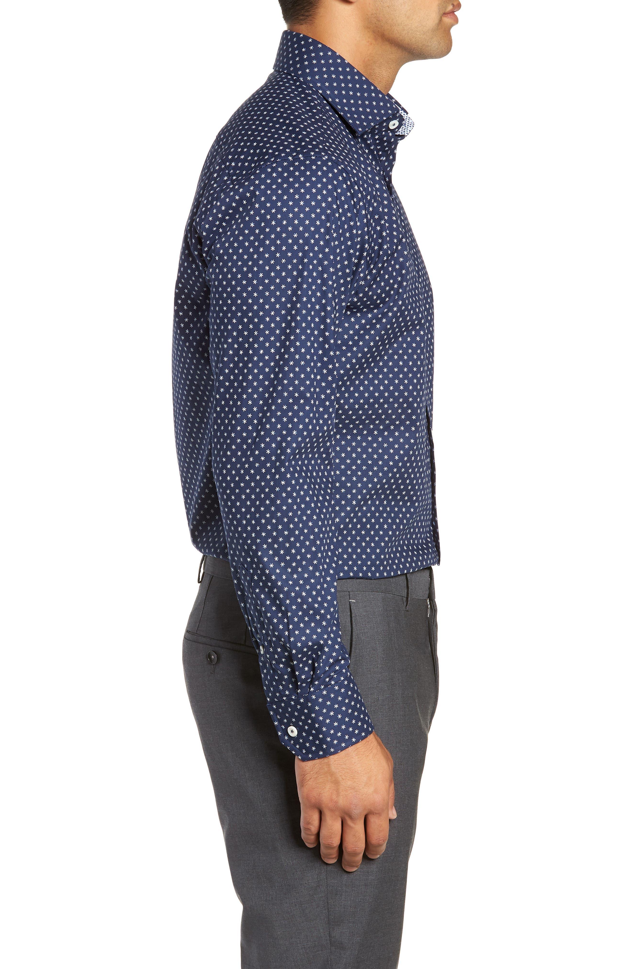 Trim Fit Print Dress Shirt,                             Alternate thumbnail 4, color,                             NAVY