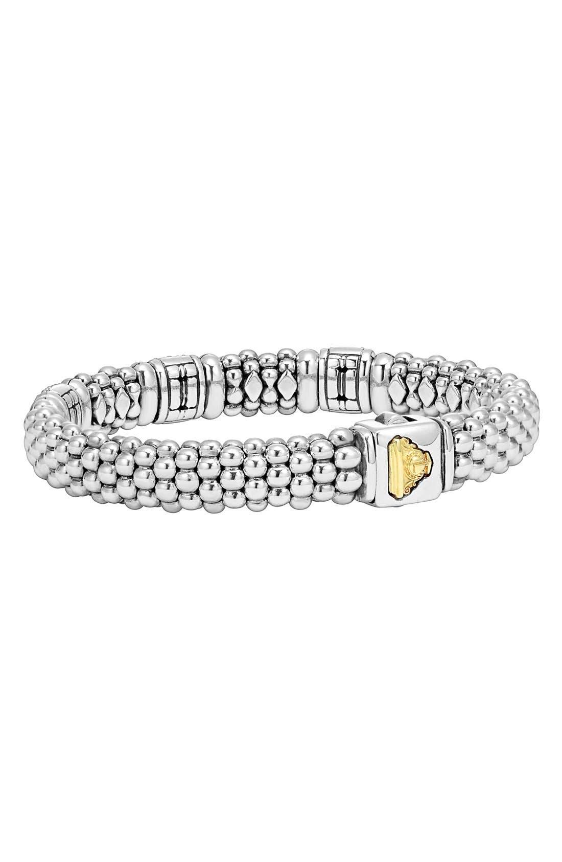 'Caviar' Diamond Station Bracelet,                             Alternate thumbnail 4, color,                             SILVER/ GOLD