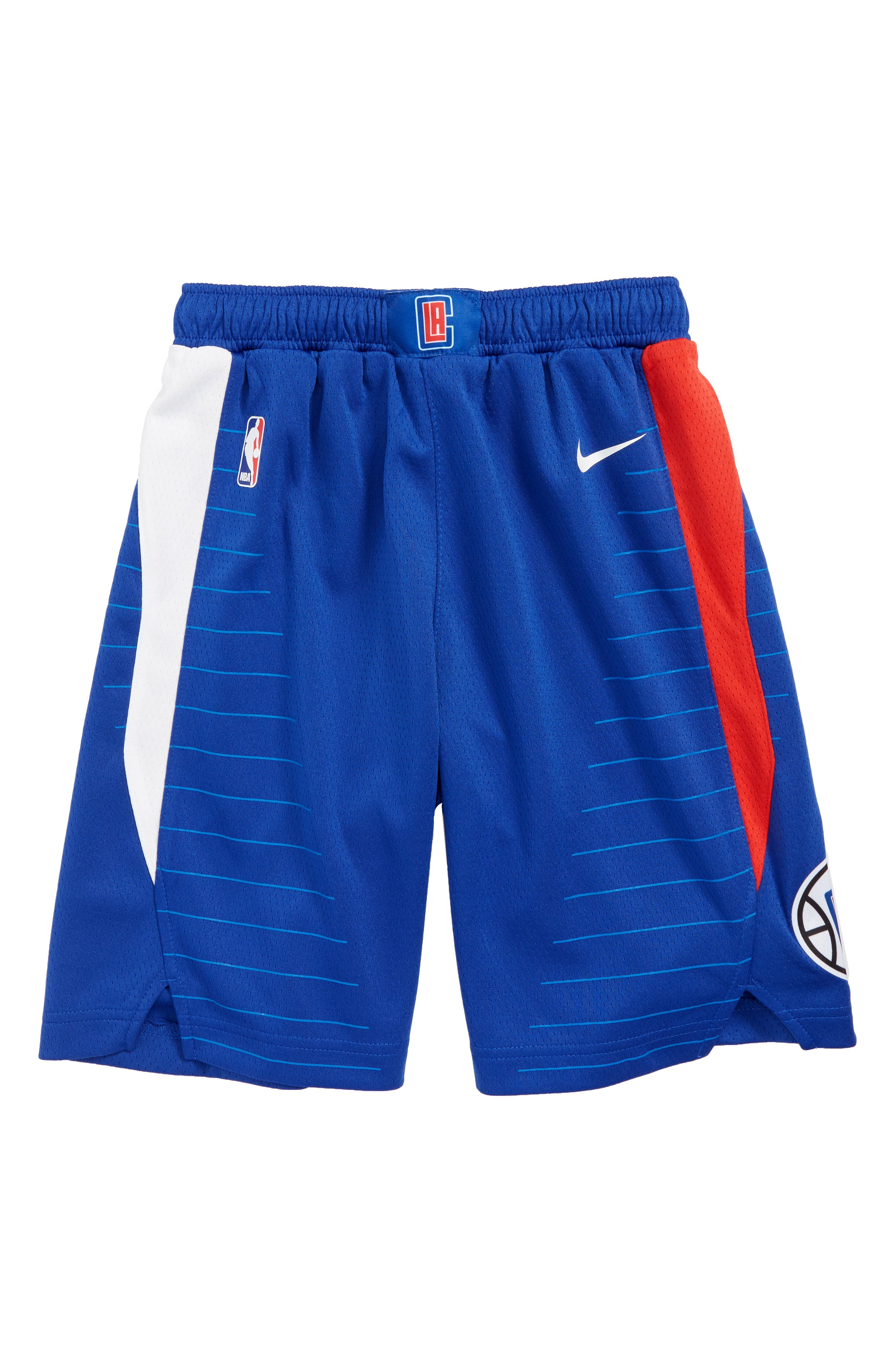 NIKE,                             Icon LA Clippers Basketball Shorts,                             Main thumbnail 1, color,                             UNIVERSITY RED