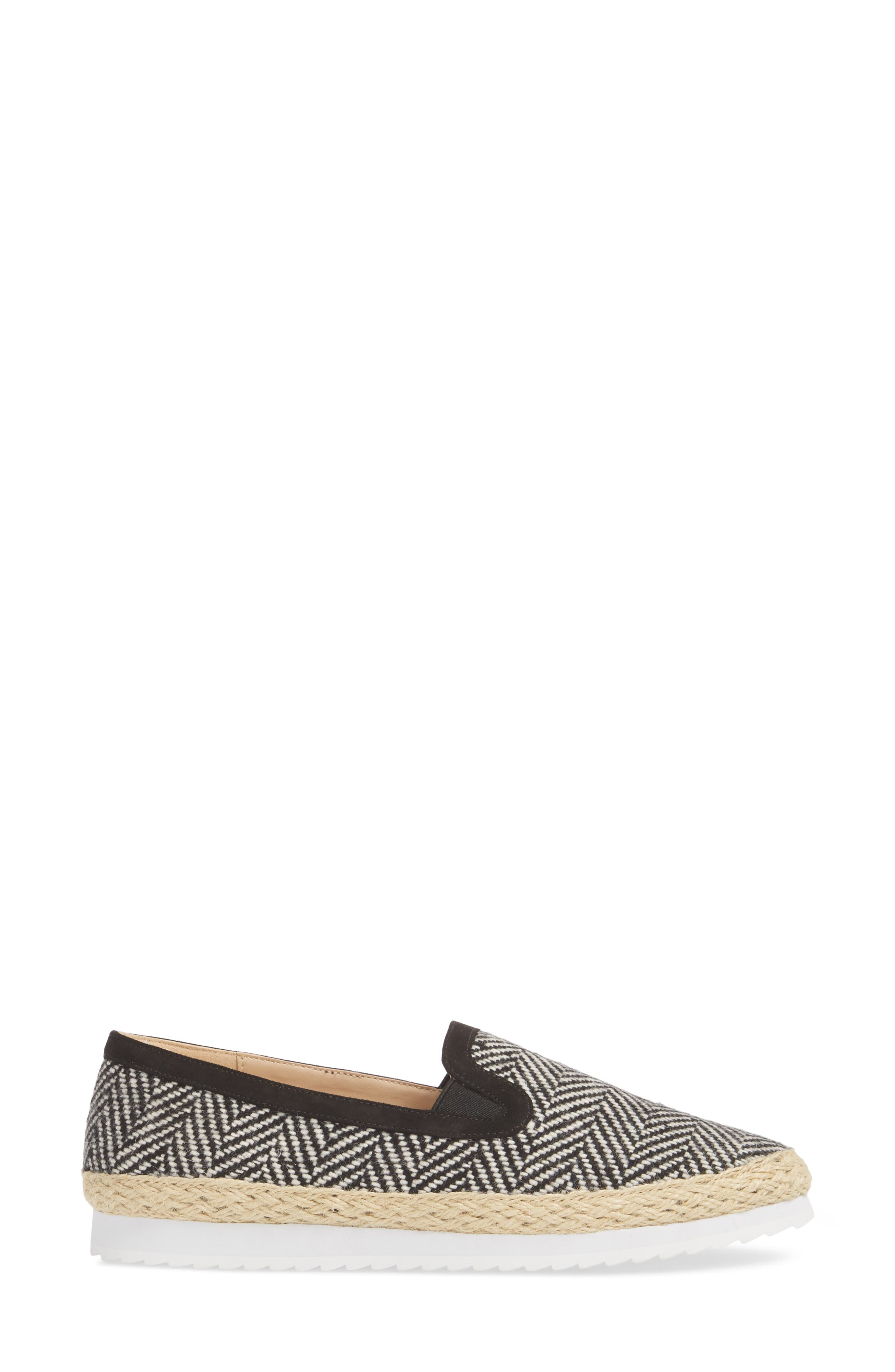Tight Line Espadrille Flat,                             Alternate thumbnail 3, color,                             BLACK HOUNDSTOOTH FABRIC