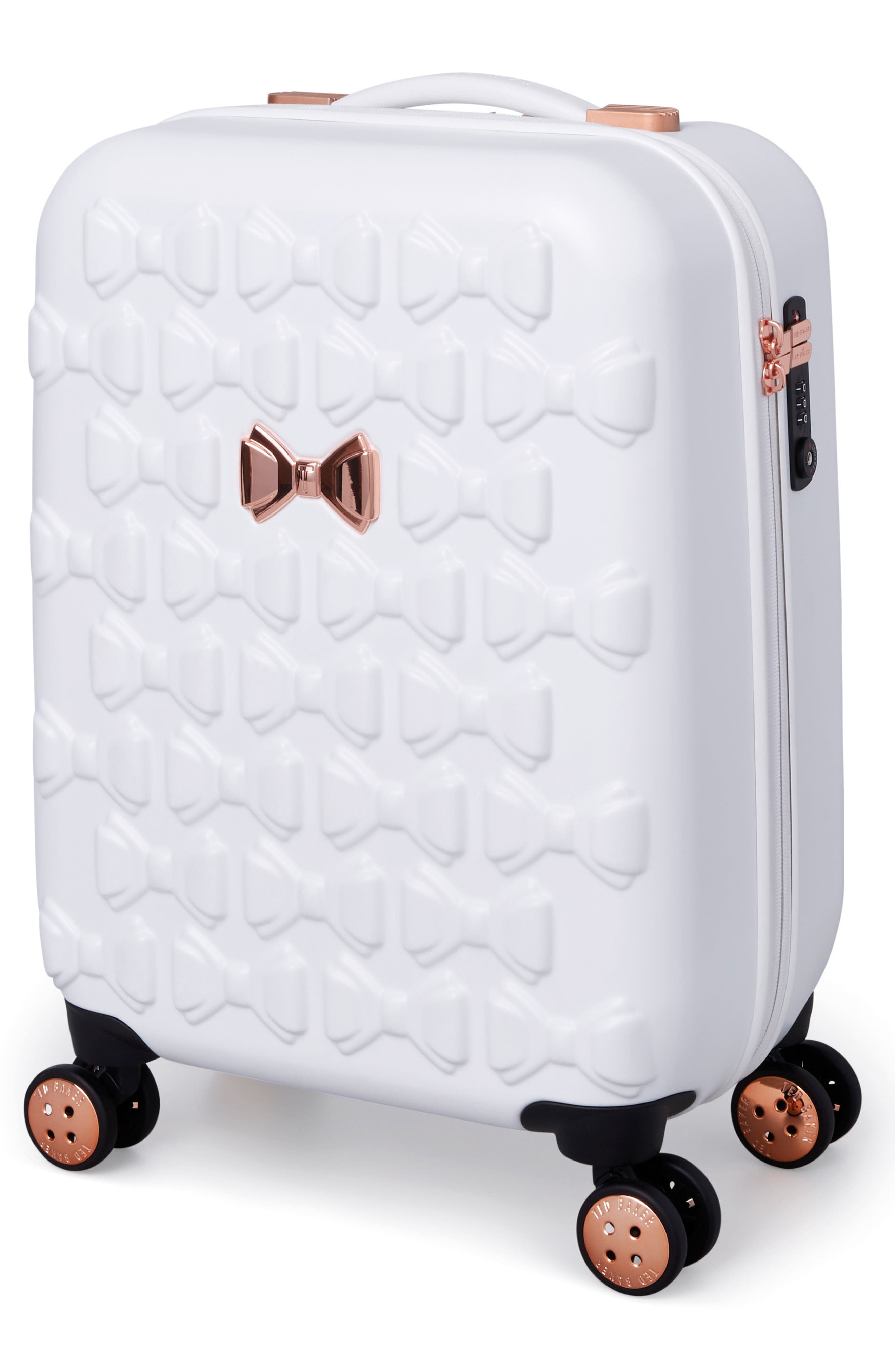 Small Beau 21-Inch Bow Embossed Four-Wheel Trolley Suitcase,                             Alternate thumbnail 3, color,                             WHITE
