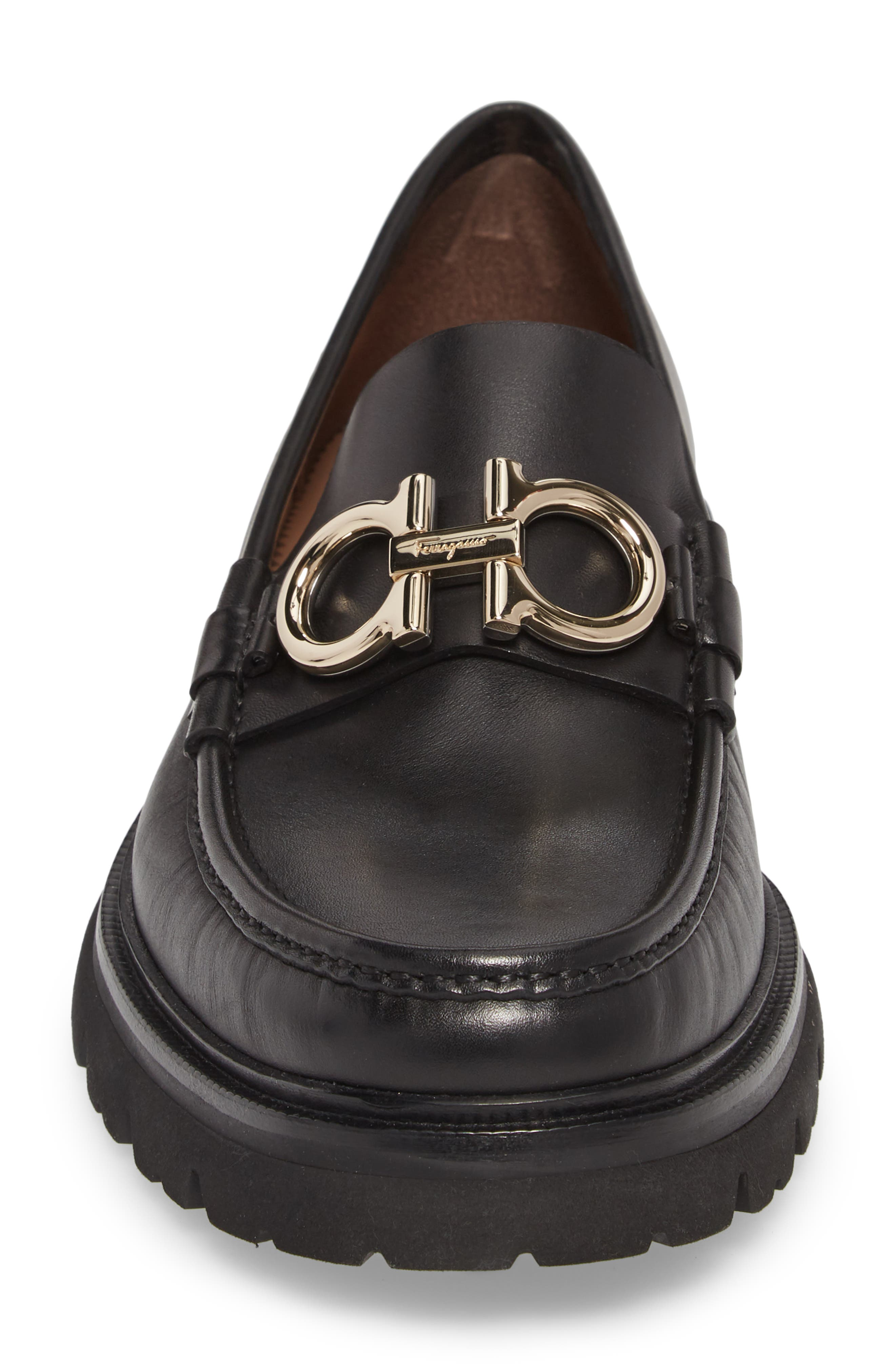 Bleecker Reversible Bit Lugged Loafer,                             Alternate thumbnail 4, color,                             NERO LEATHER