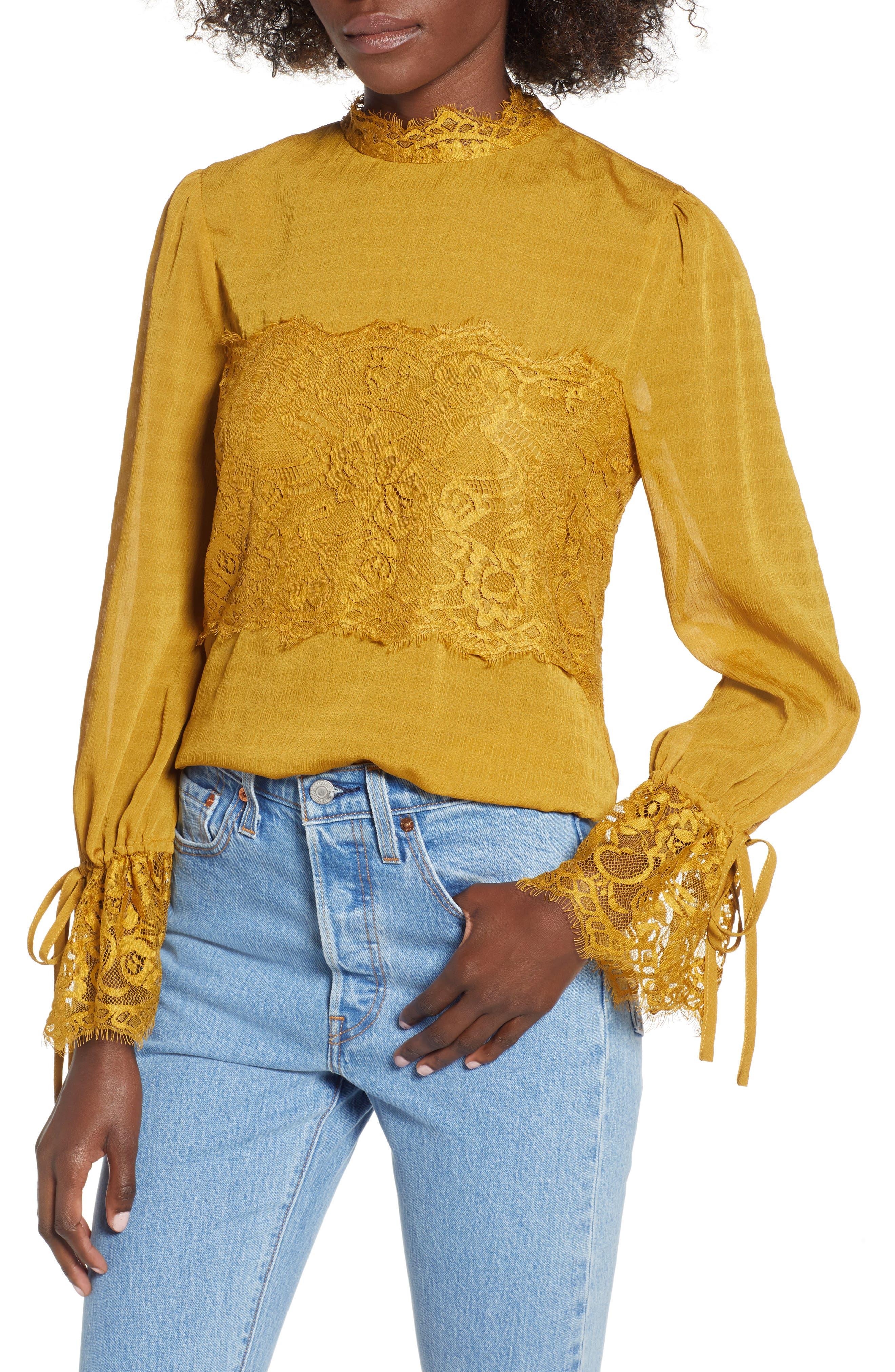 Lace Panel Blouse,                         Main,                         color, GOLDEN ROD