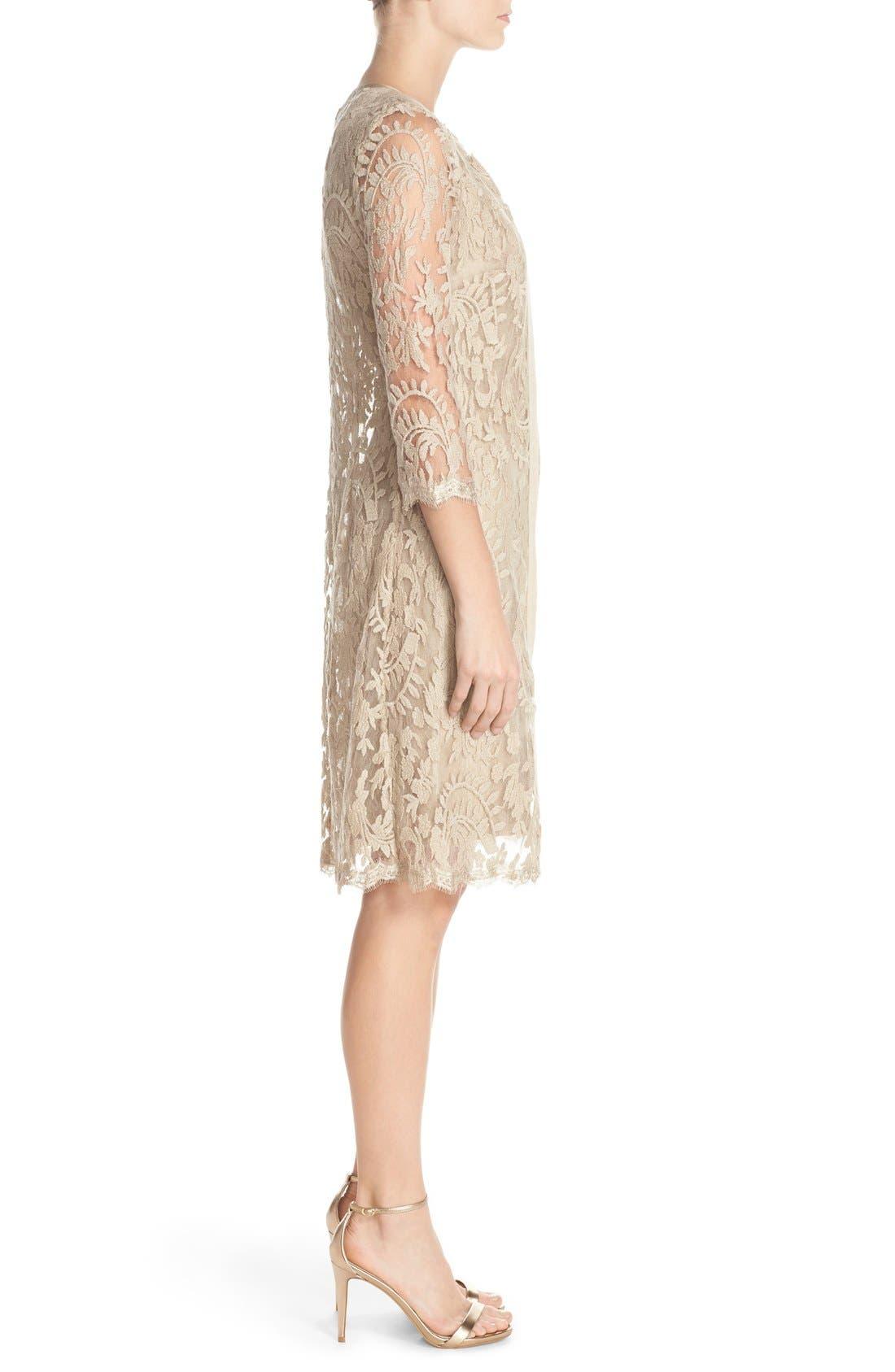 Embroidered Lace Illusion Yoke Sheath Dress &Topper,                             Alternate thumbnail 3, color,                             250