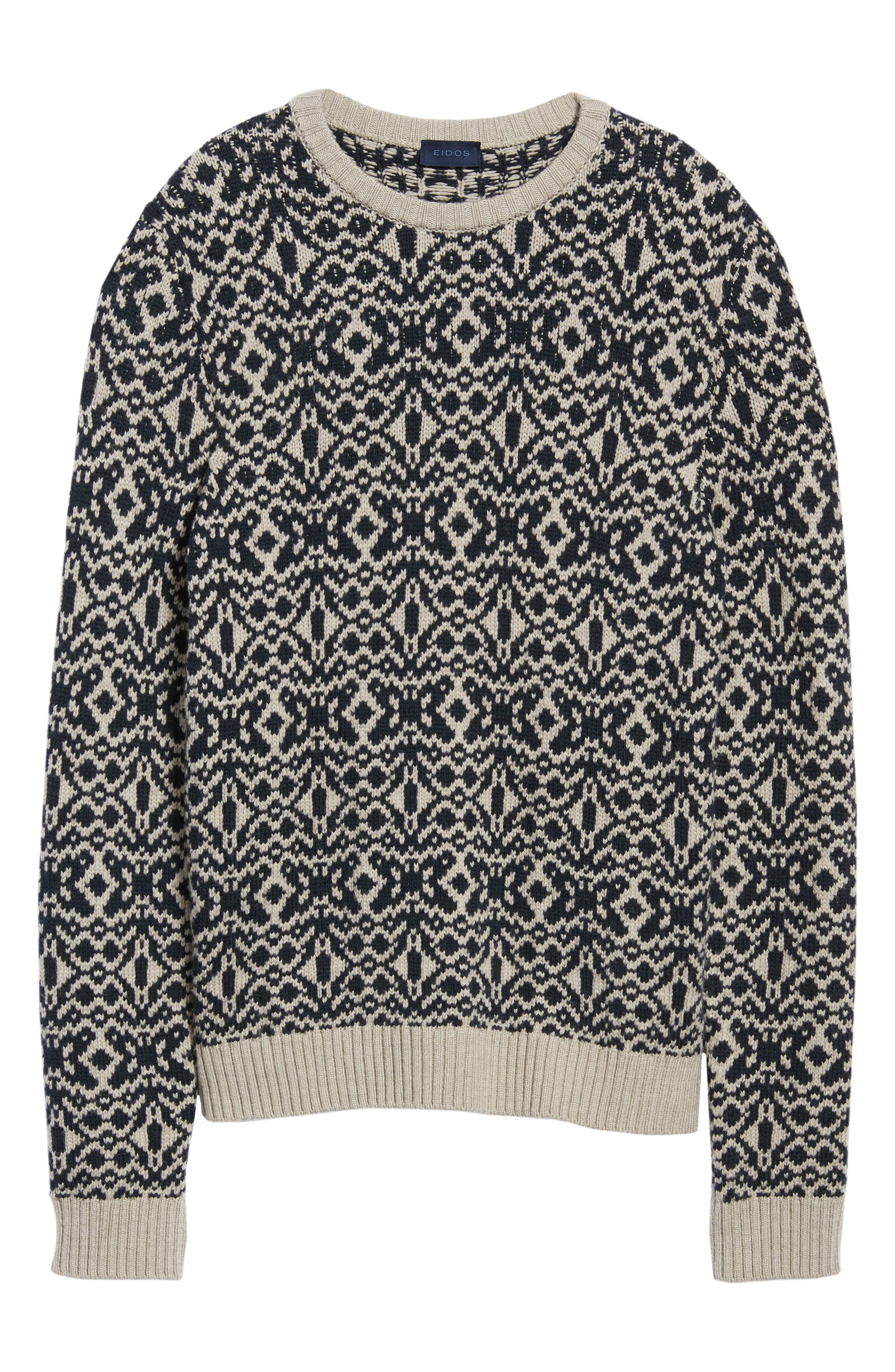 Patterned Wool Crewneck Sweater,                             Alternate thumbnail 6, color,                             STONE