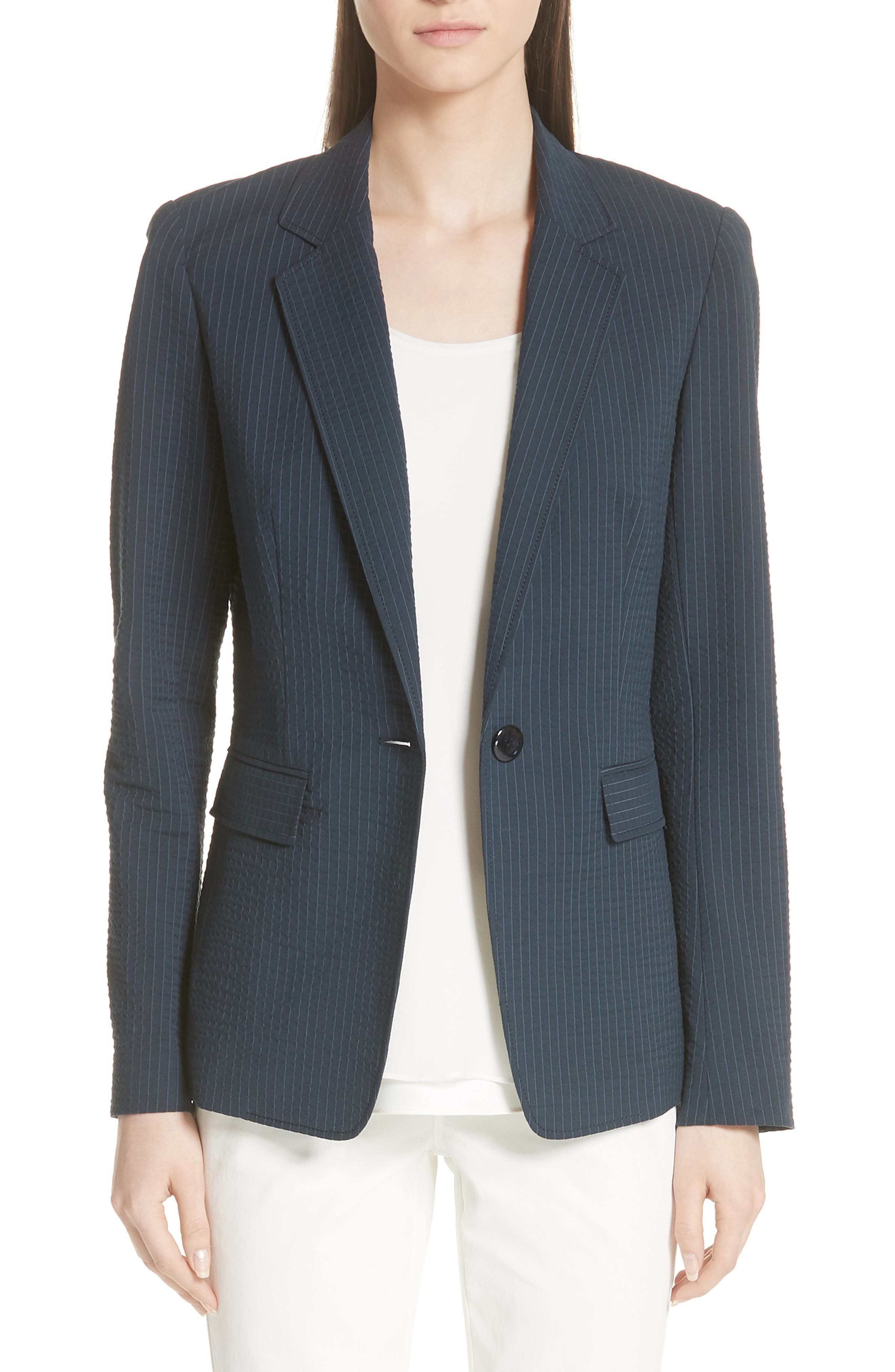 Lyndon Pinstripe Seersucker Blazer,                         Main,                         color, INK MULTI
