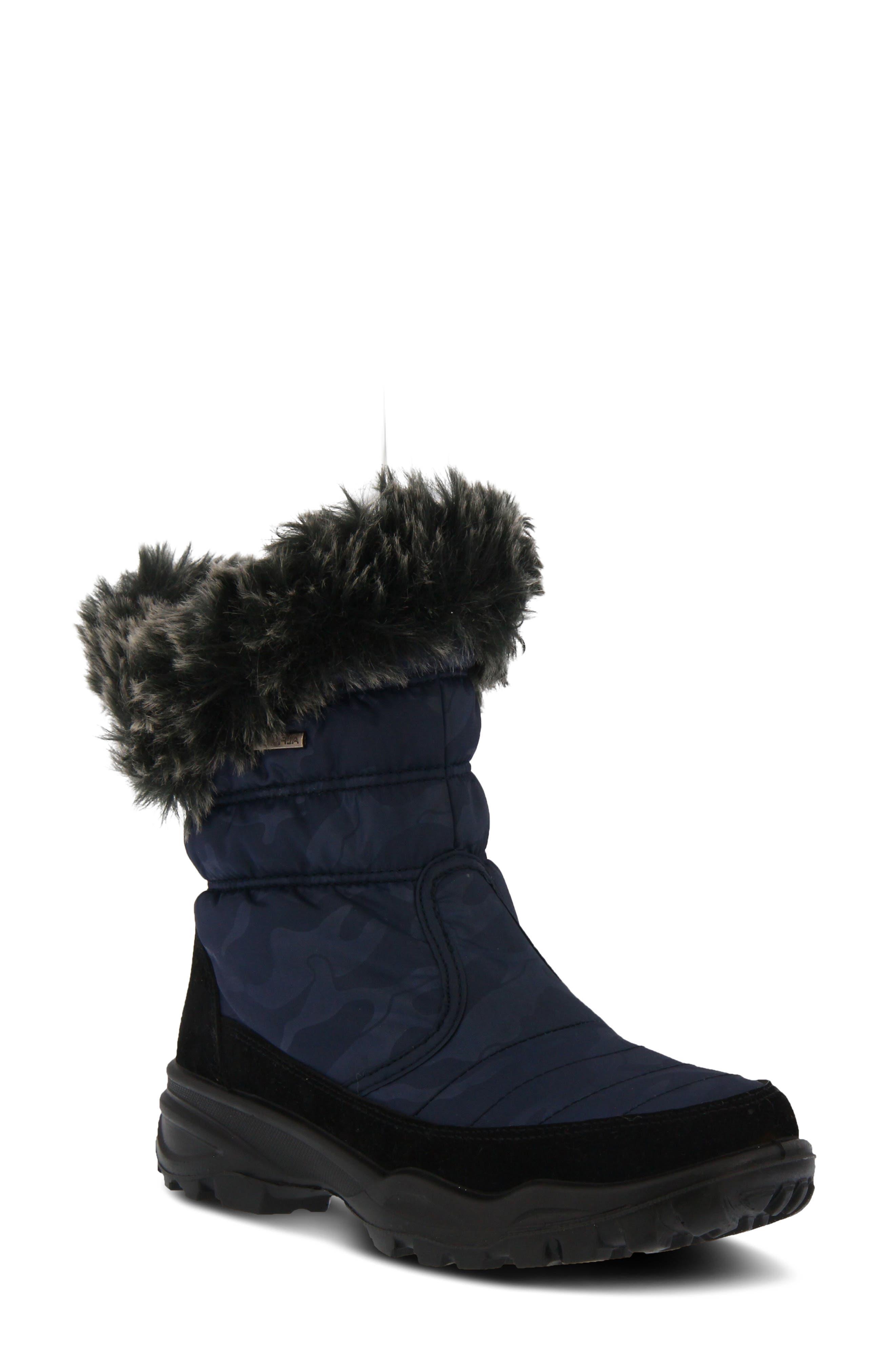 Spring Step Korine Waterproof Faux Fur Bootie, Blue
