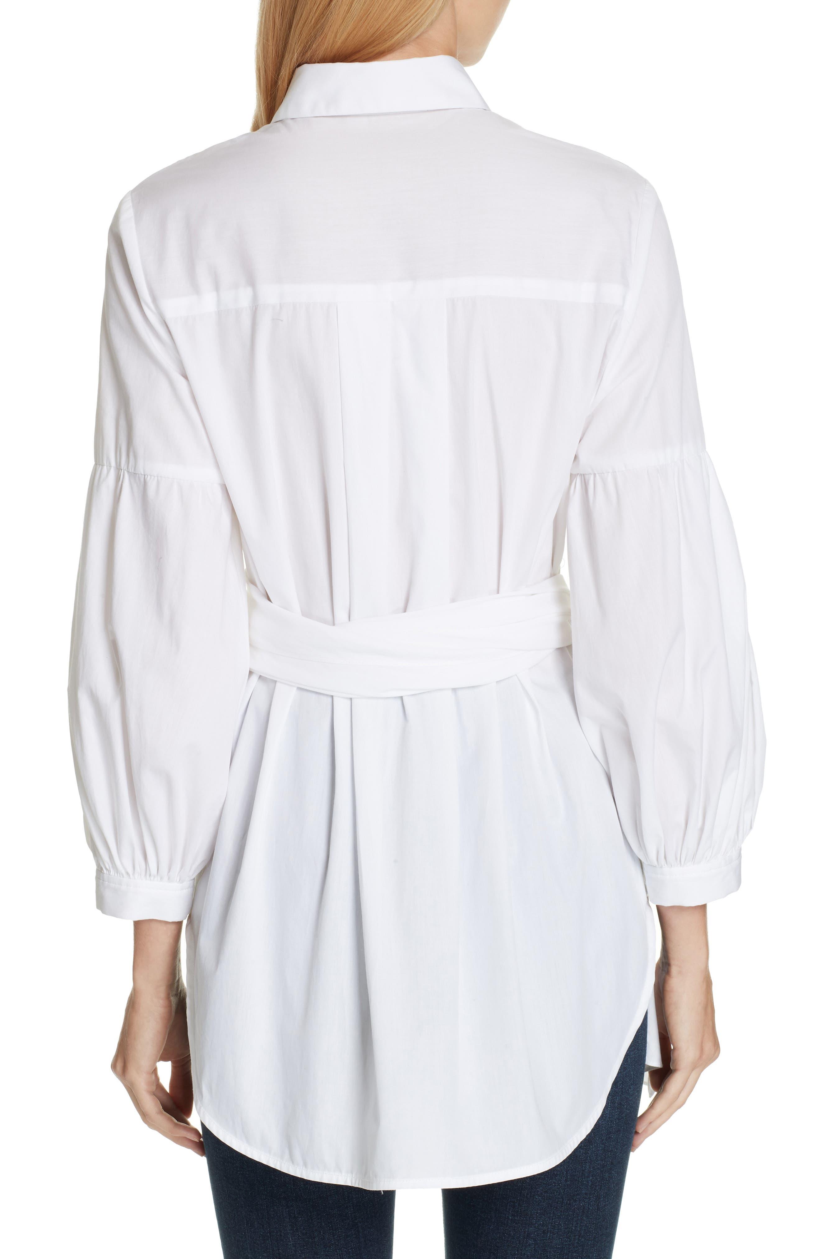 Sinclair Puff Sleeve Wrap Detail Shirt,                             Alternate thumbnail 2, color,                             WHITE