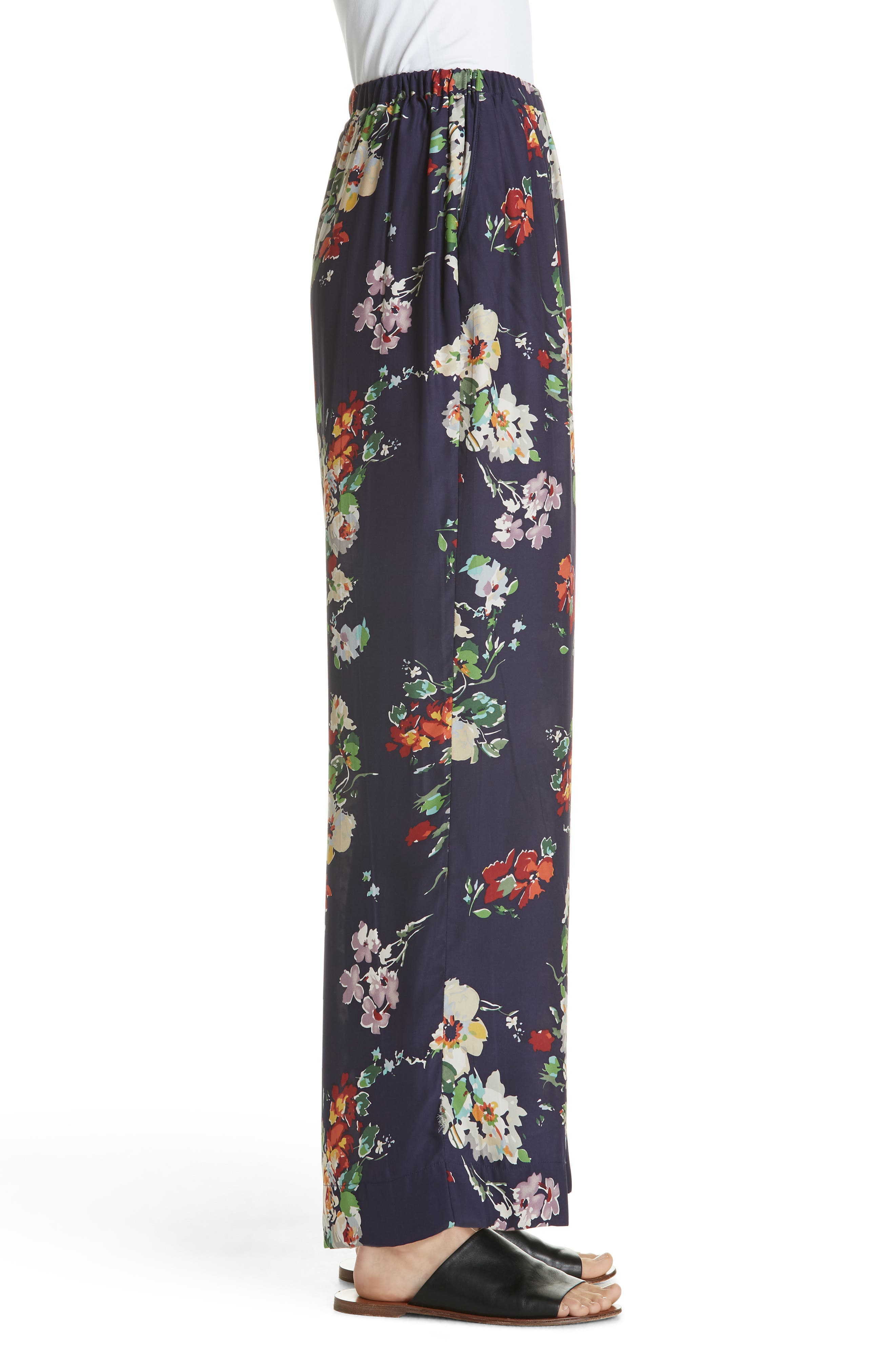 Chaplin Floral Silk Trousers,                             Alternate thumbnail 3, color,                             NIGHTFALL FLORAL PRINT