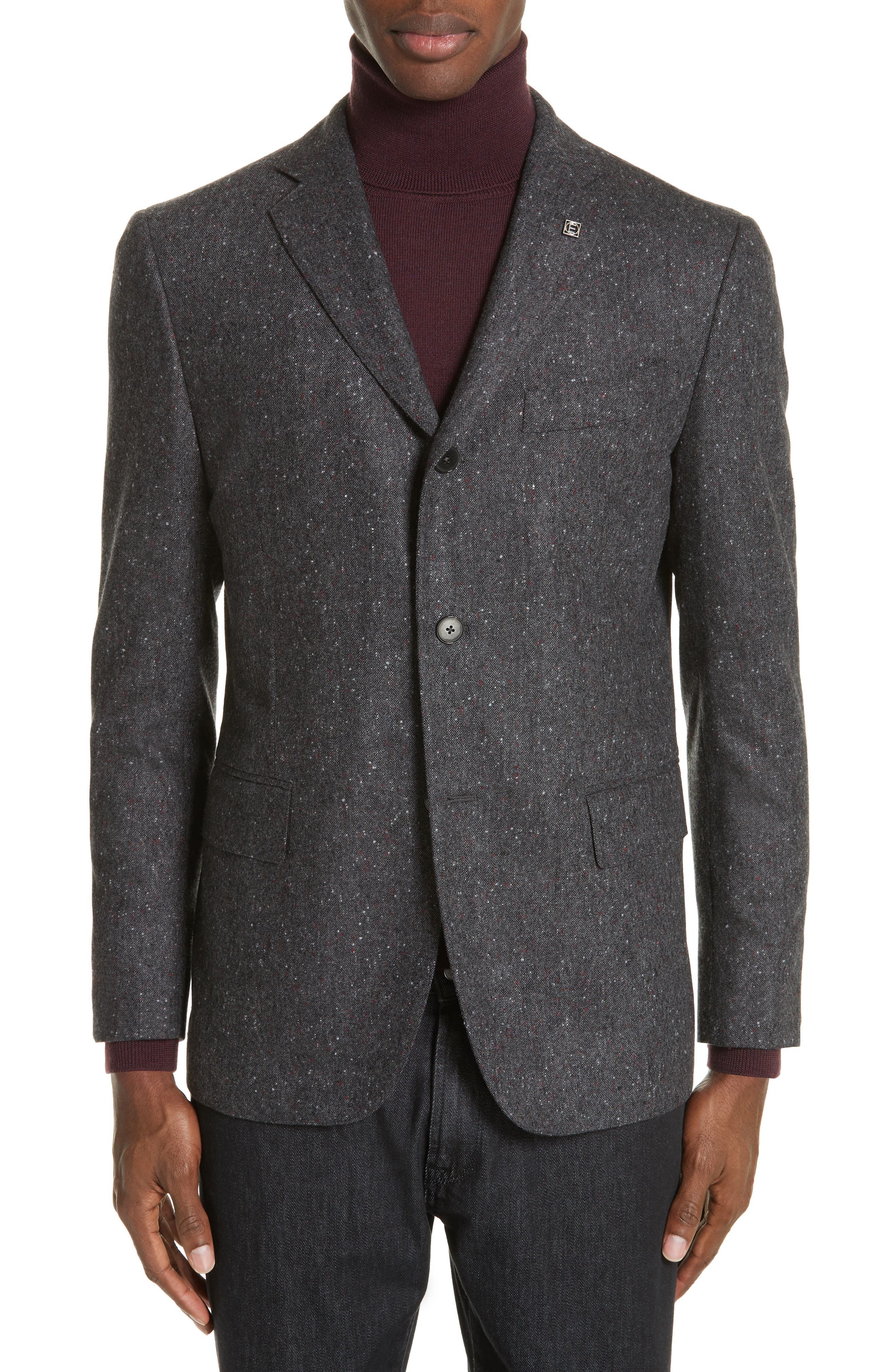 EIDOS Trim Fit Three Button Wool Blazer in Grey/ Red