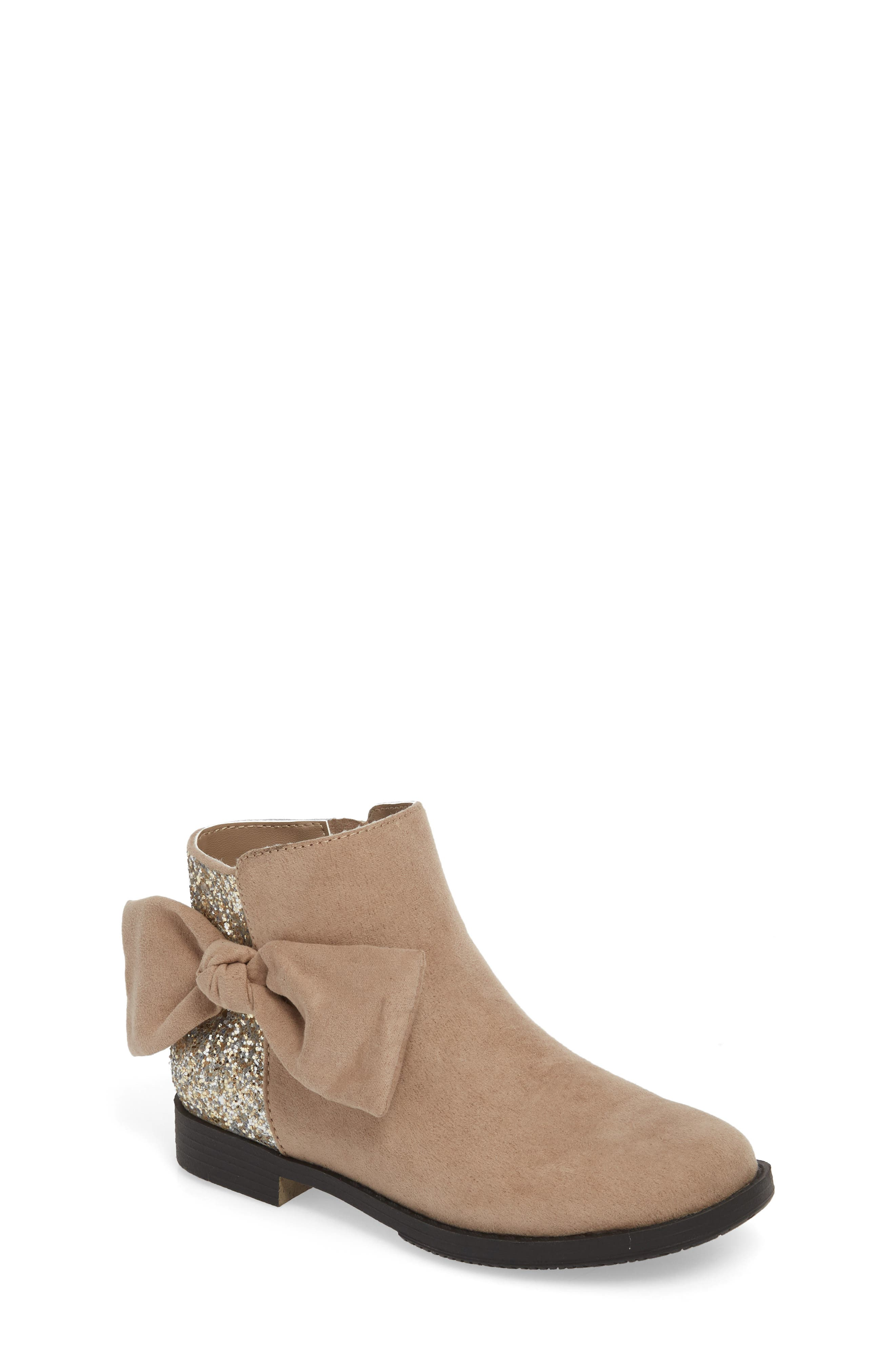 Glittery Kennedy Tie Bootie,                             Main thumbnail 1, color,                             TAUPE