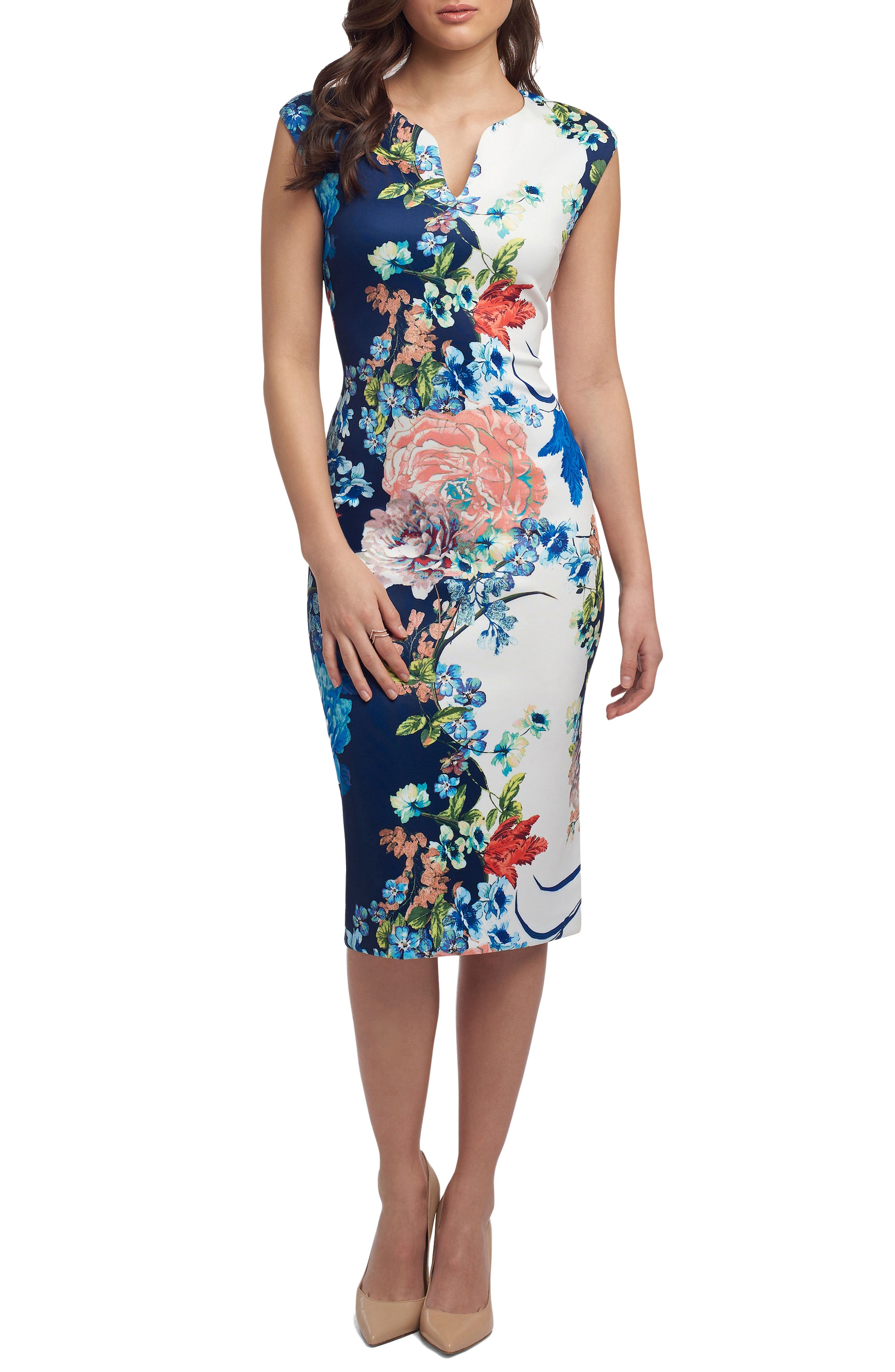Print Notch Neck Sheath Dress,                         Main,                         color, 436