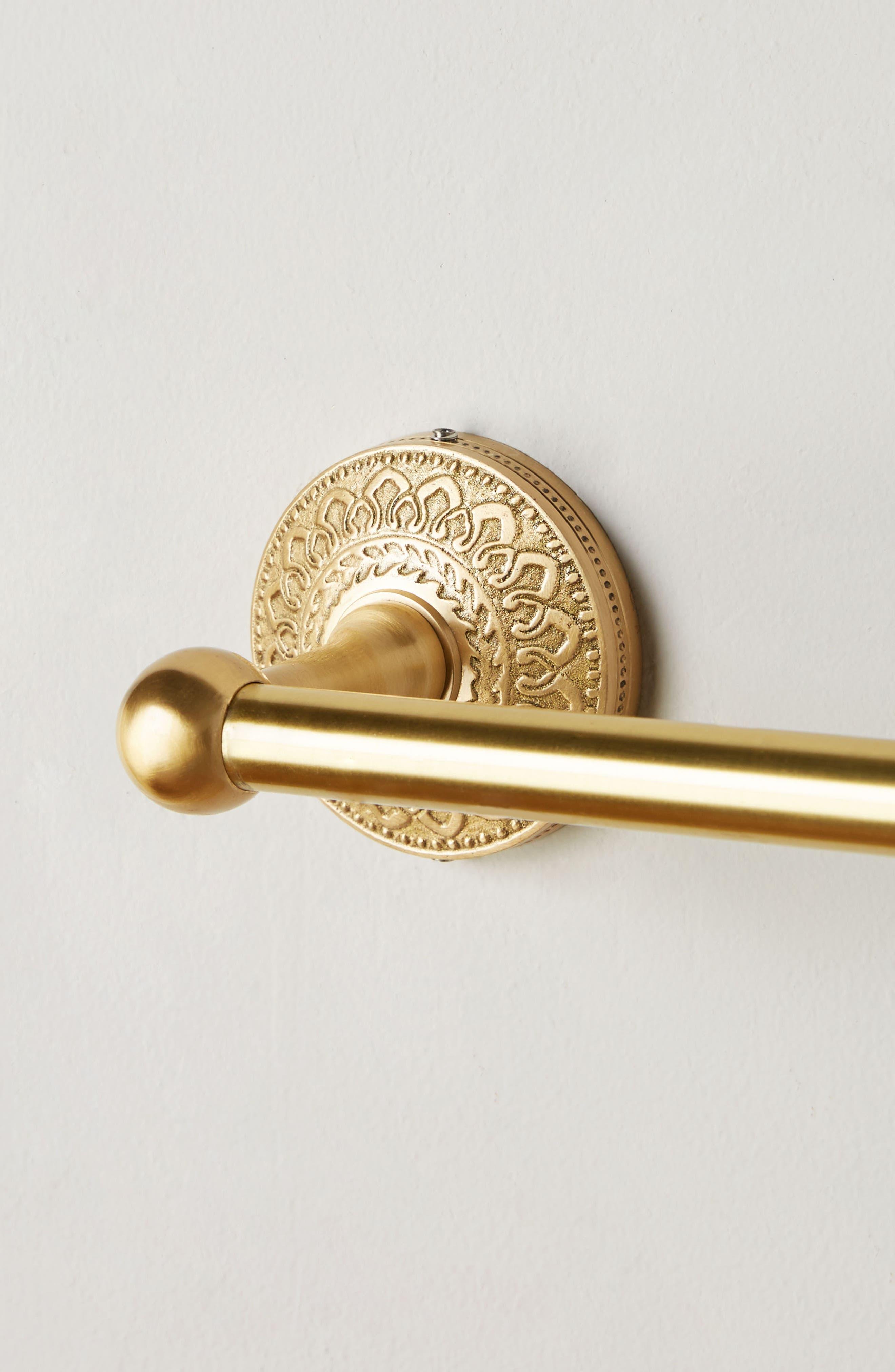 Brass Medallion Towel Bar,                             Alternate thumbnail 3, color,                             HONEY
