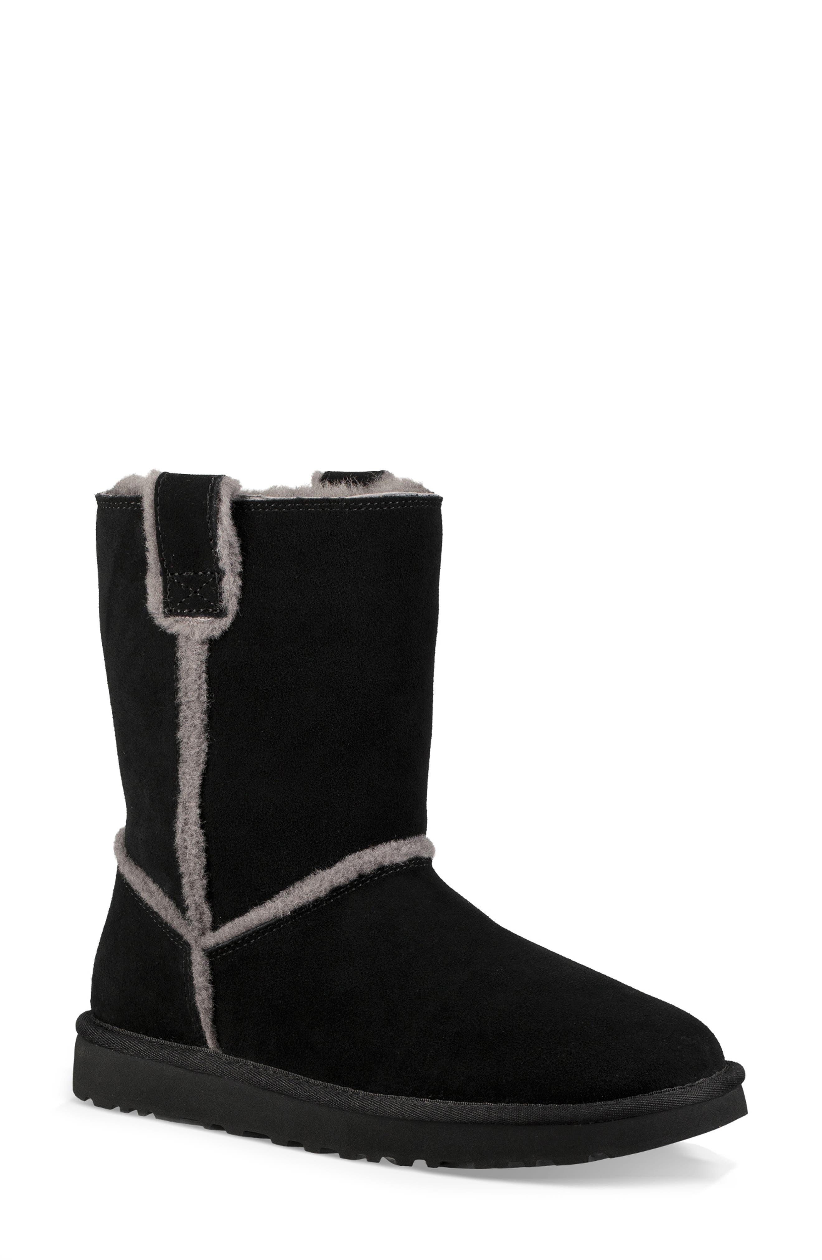 Classic Short Spill Seam Genuine Shearling Boot,                             Main thumbnail 1, color,                             BLACK