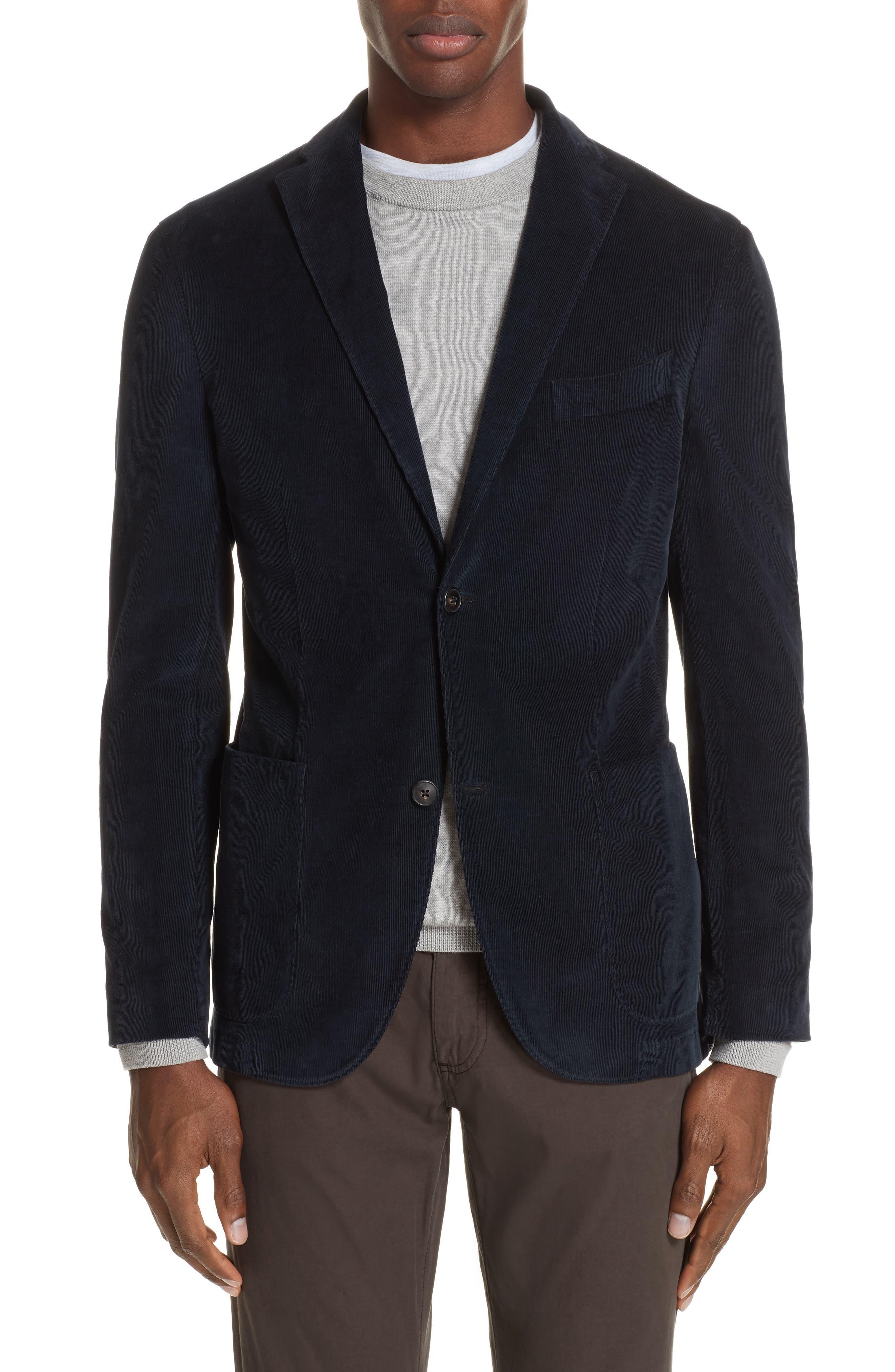 Trim Fit Stretch Corduroy Cotton Blazer,                             Main thumbnail 1, color,                             NAVY
