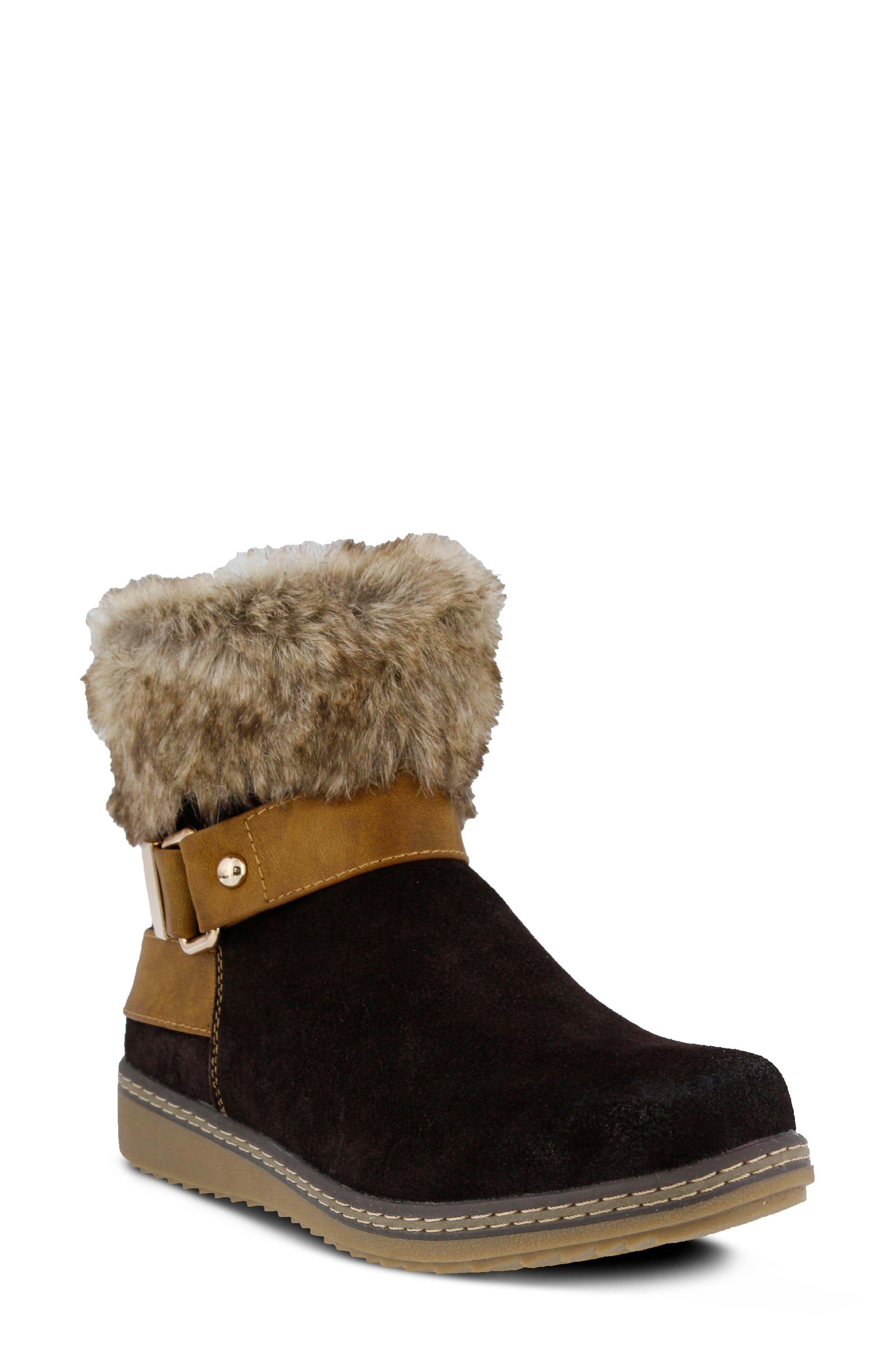 Spring Step Water Resistant Faux Fur Bootie - Brown