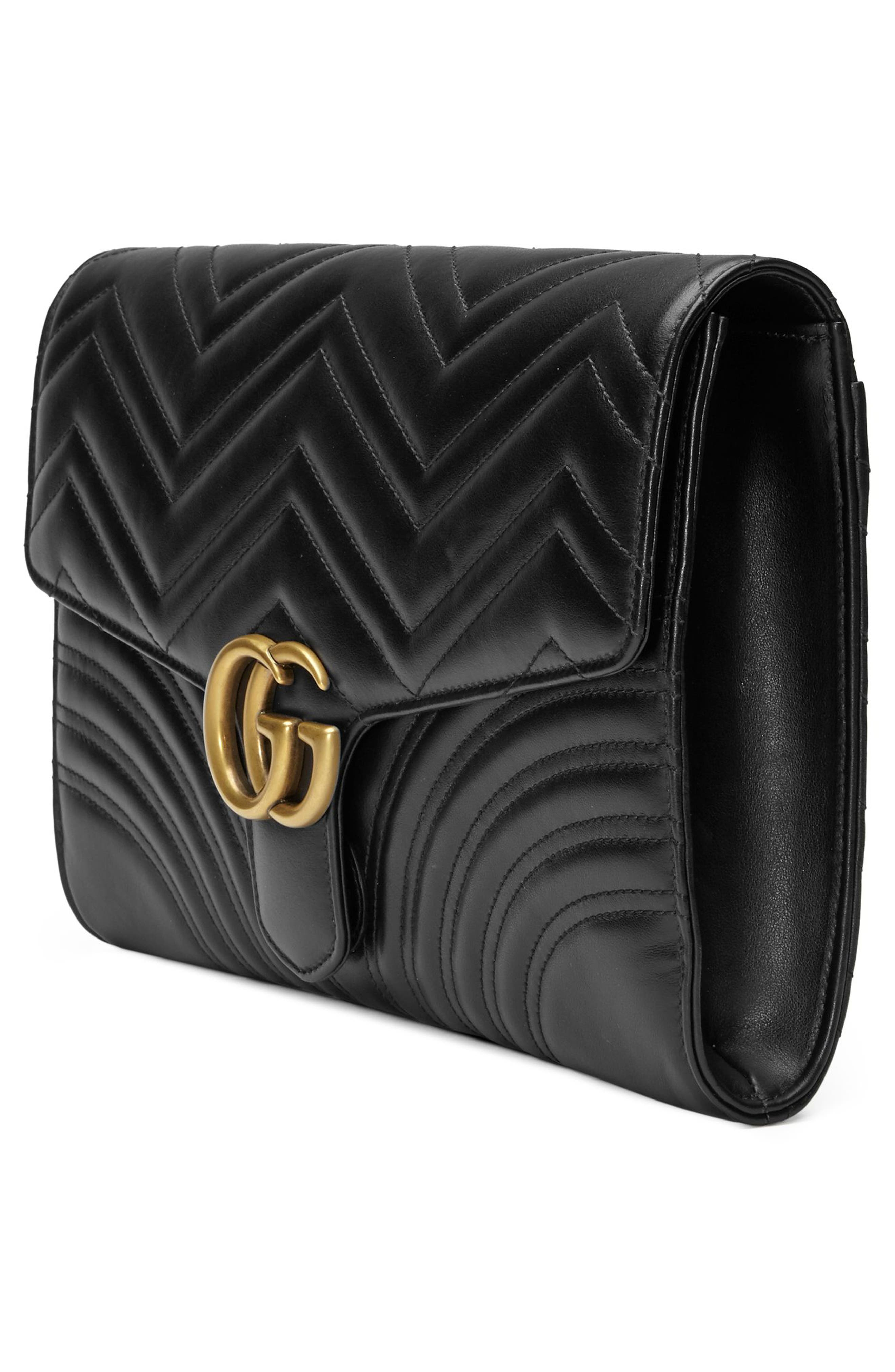 GG Marmont 2.0 Matelassé Leather Clutch,                             Alternate thumbnail 4, color,                             005