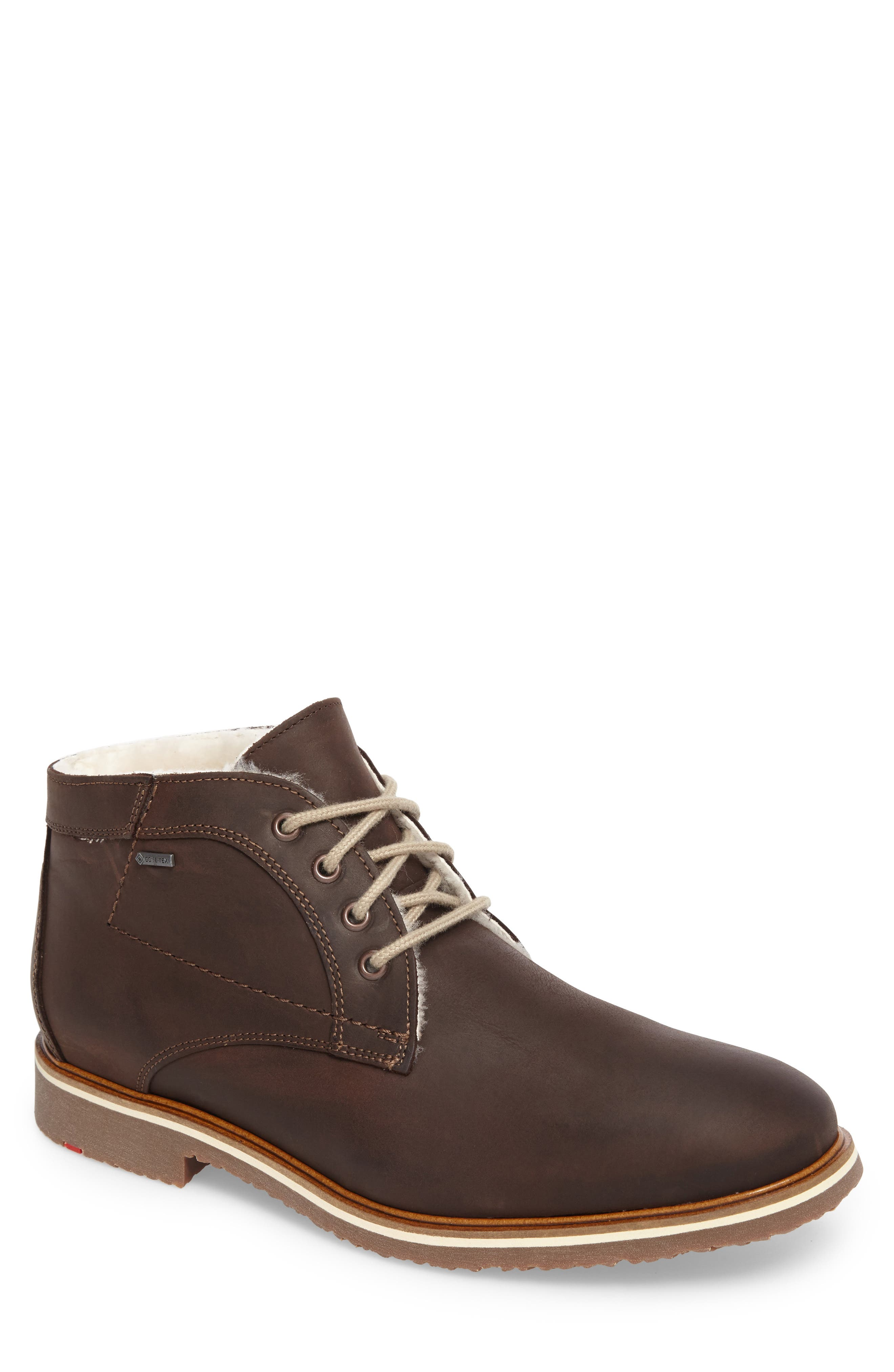Varus Waterproof Shearlng Lined Chukka Boot,                         Main,                         color, EBONY LEATHER