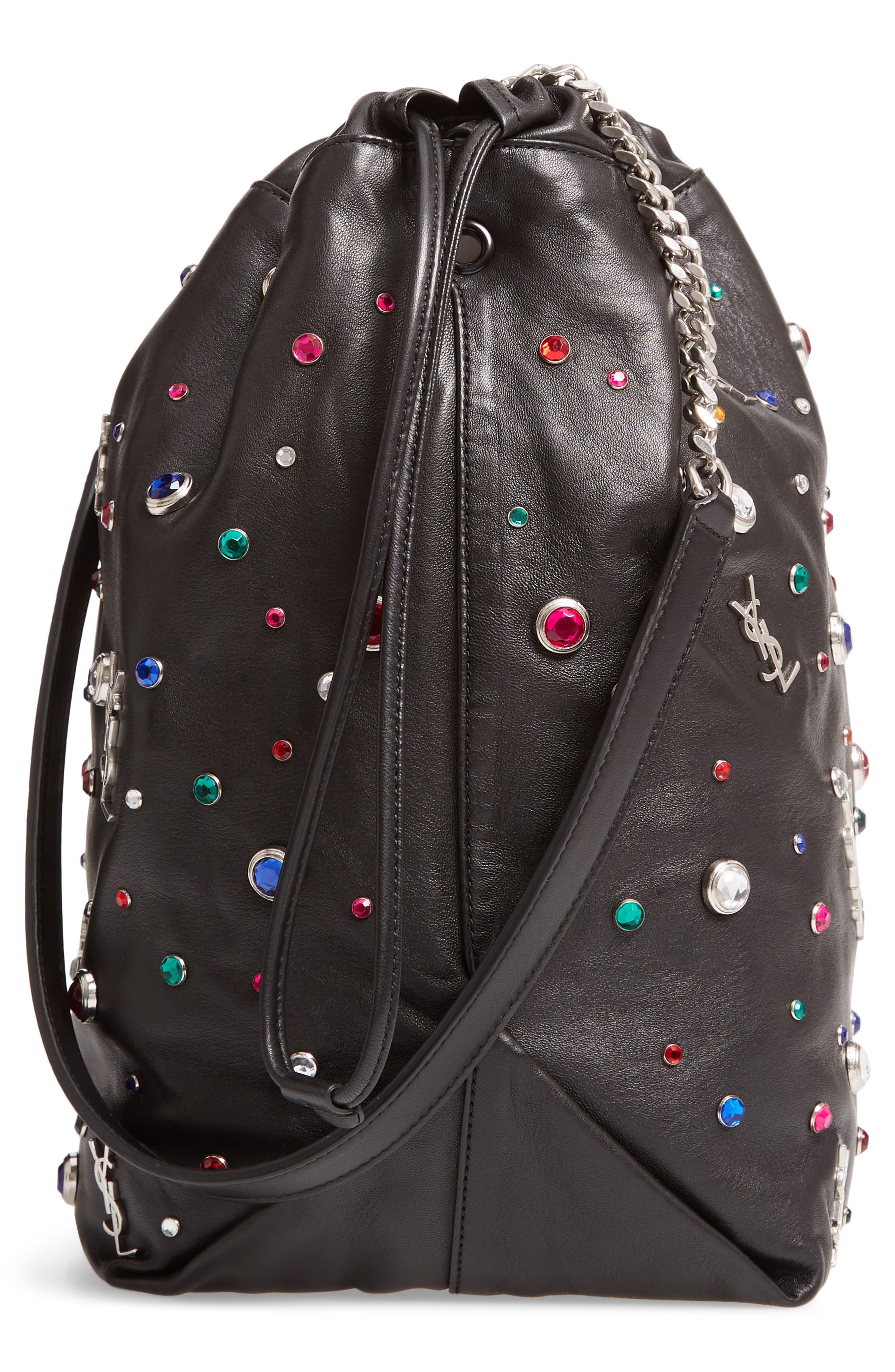 Teddy Studded Leather Bucket Bag,                             Alternate thumbnail 5, color,                             NOIR MULTI