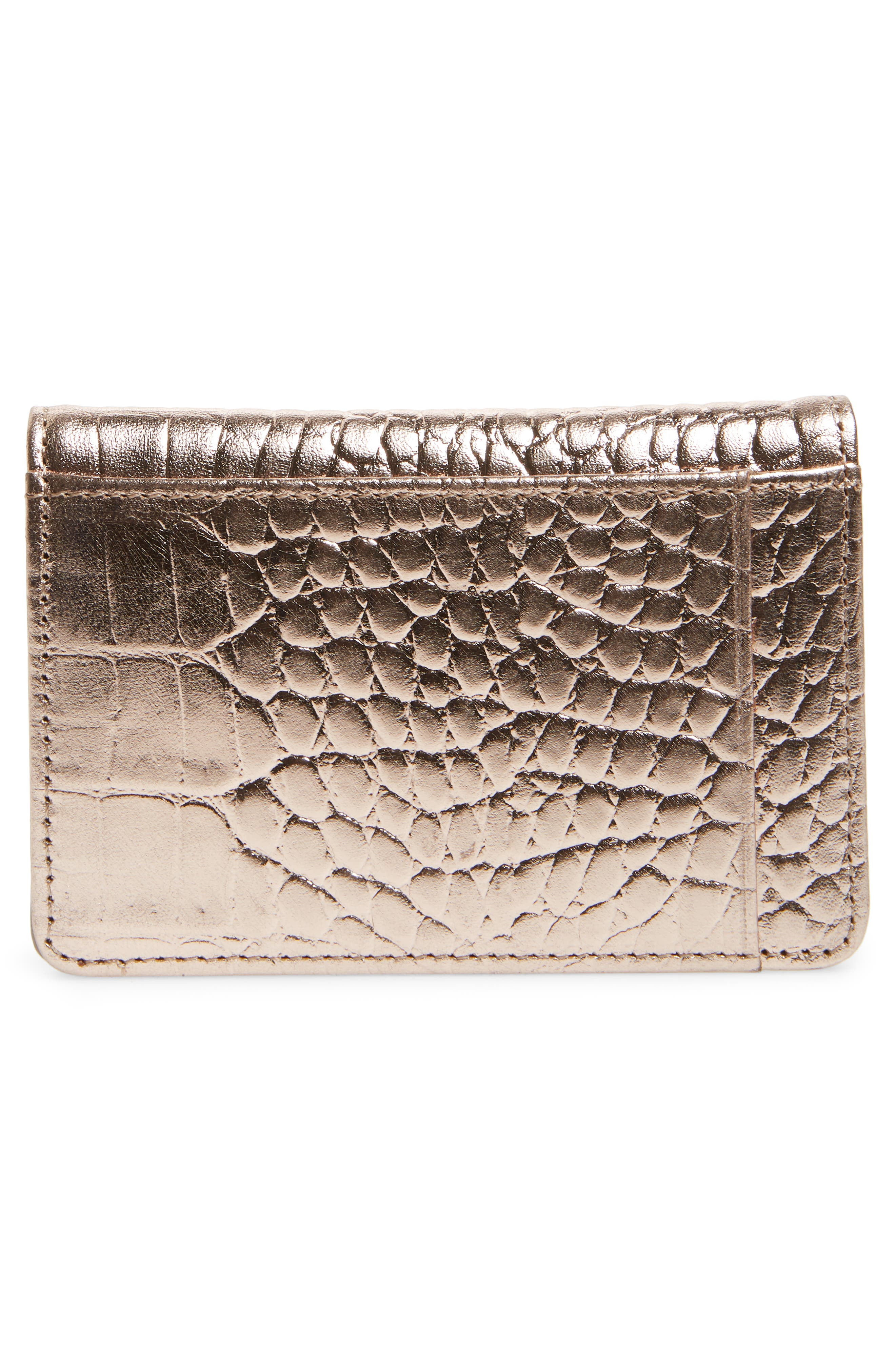 Ruby Croc Embossed Leather Cardholder,                             Alternate thumbnail 3, color,                             PINK DUST
