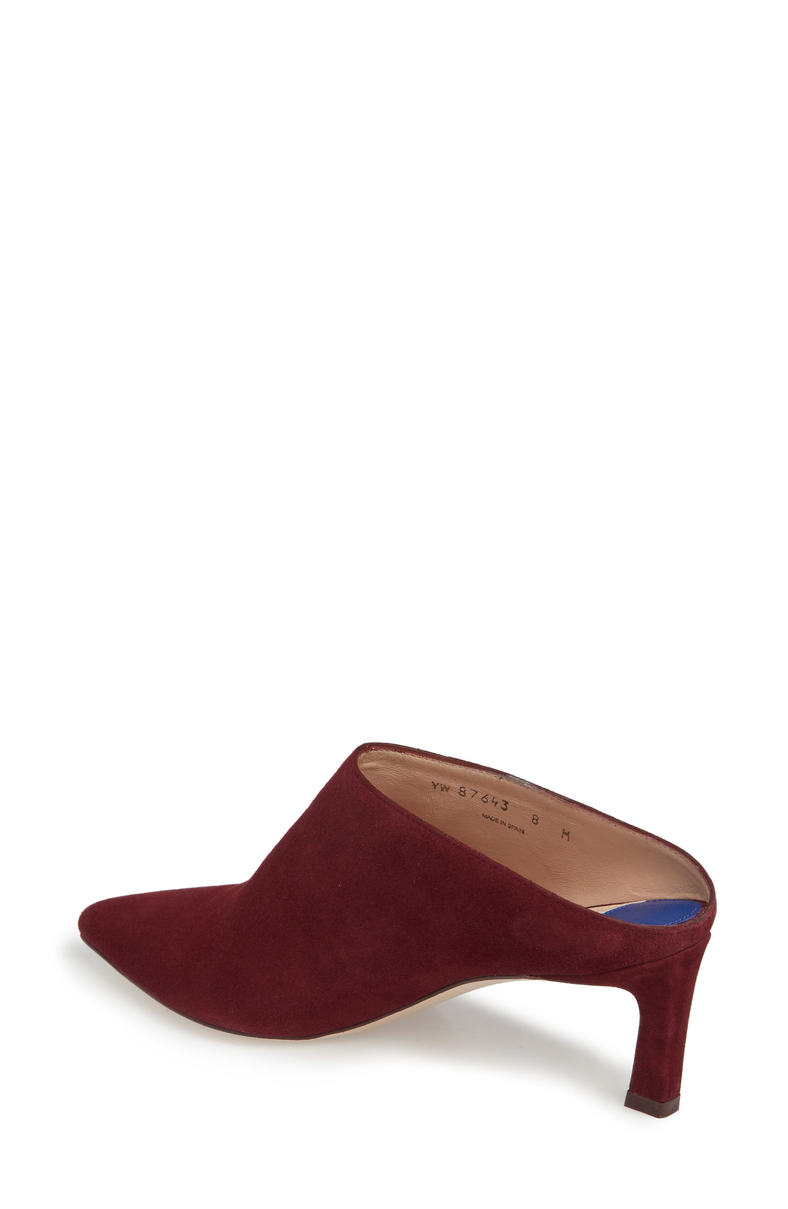 Mira Pointy Toe Mule,                             Alternate thumbnail 2, color,                             CABERNET SUEDE