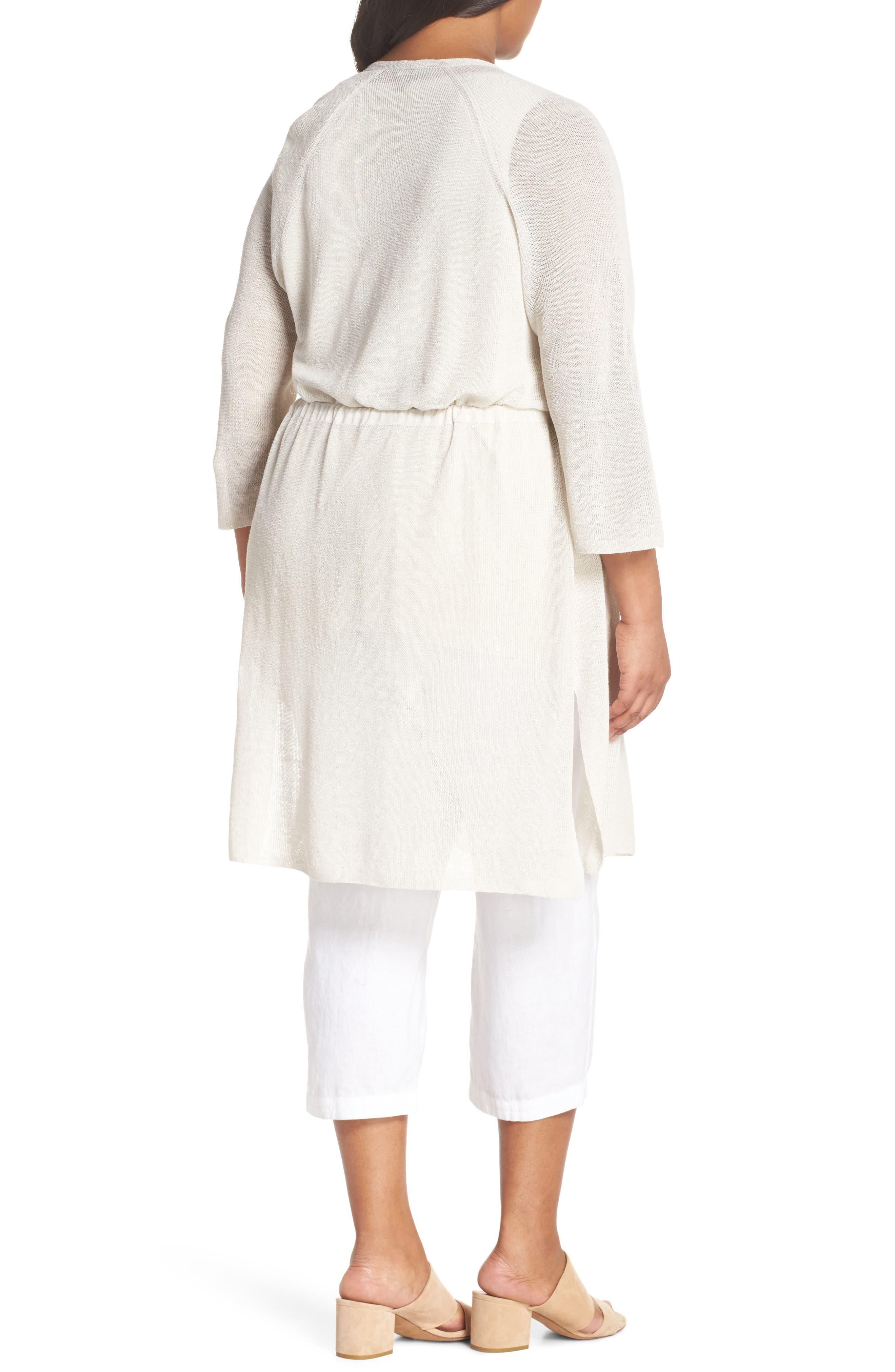 Long Organic Linen Blend Kimono Cardigan,                             Alternate thumbnail 6, color,