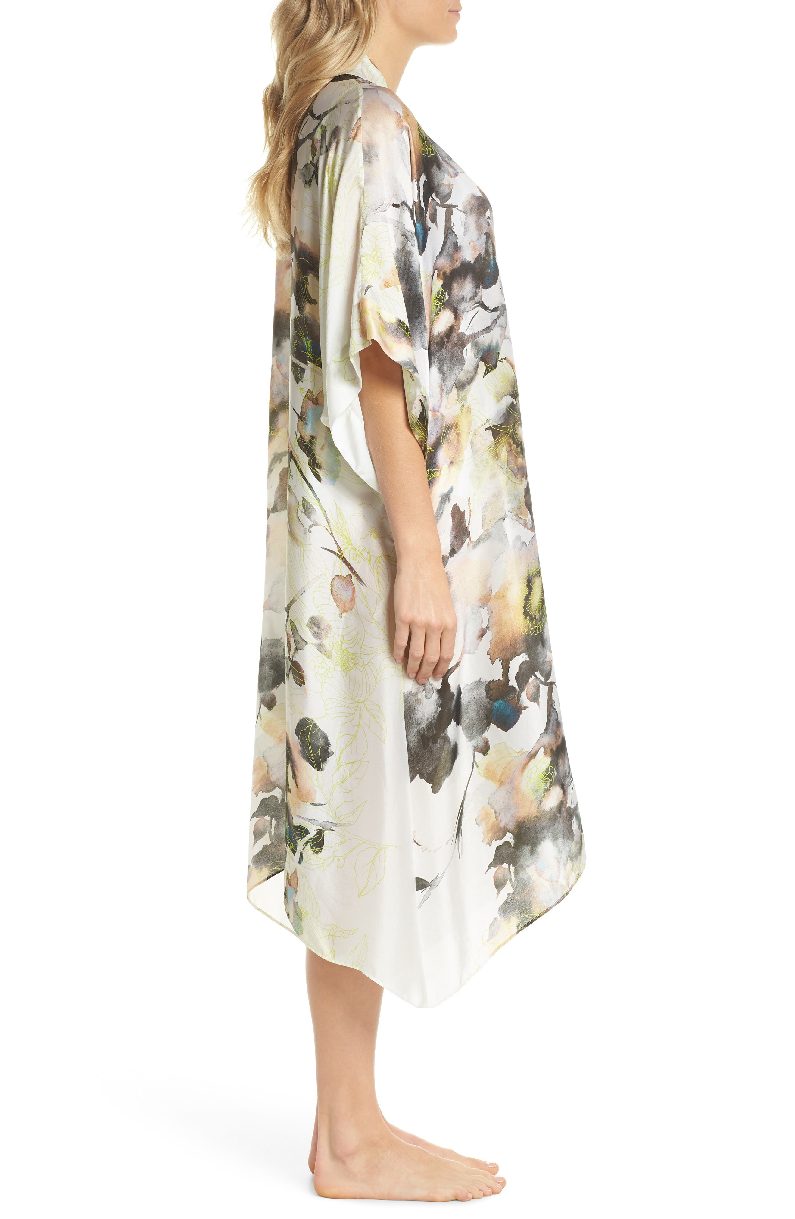 Floral Print Silk Robe,                             Alternate thumbnail 3, color,                             LIMELIGHT PRINT
