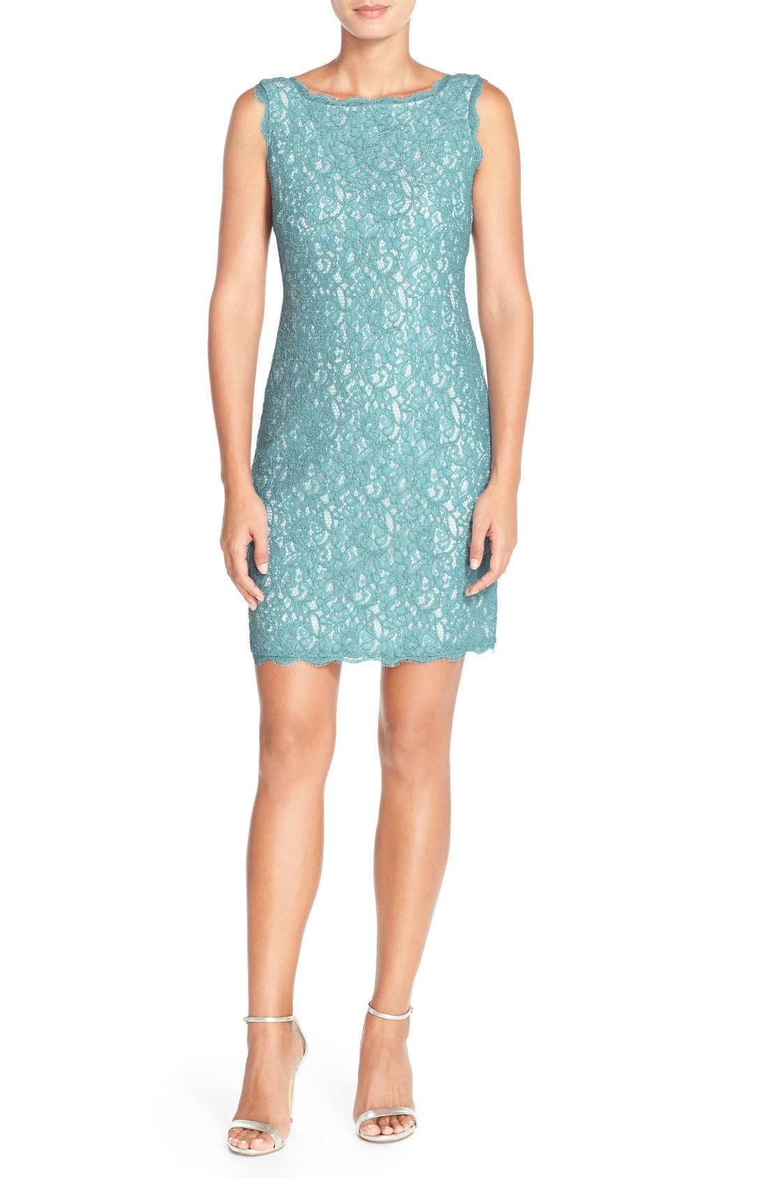 Boatneck Lace Sheath Dress,                             Main thumbnail 17, color,
