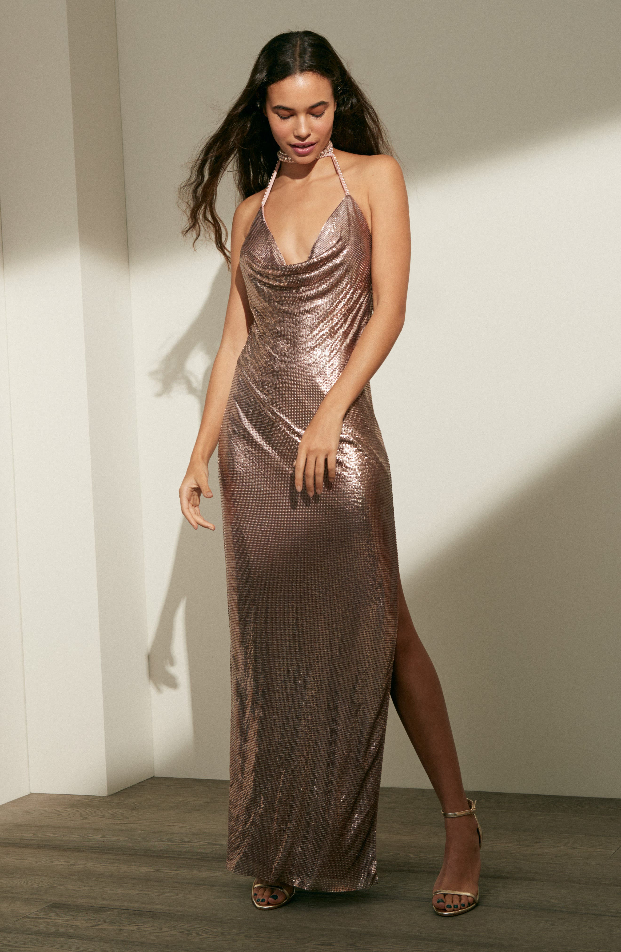 Jeweled Choker Column Gown,                             Alternate thumbnail 7, color,                             044